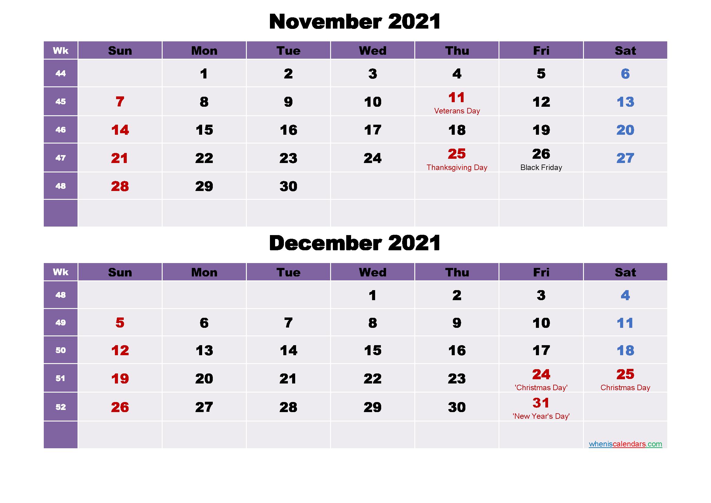November and December Calendar 2021 Printable Word, PDF