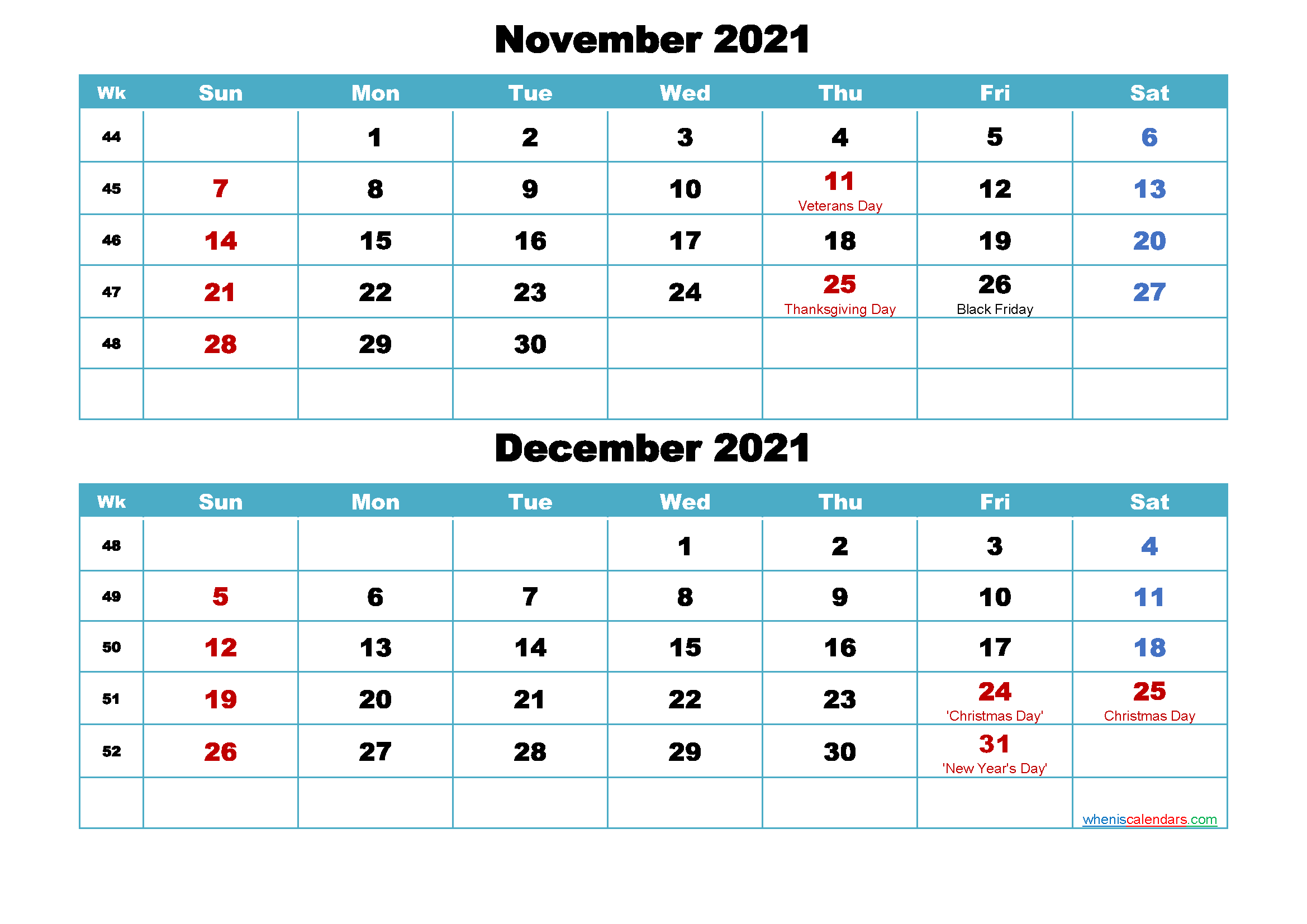 Printable Calendar November and December 2021 Word, PDF