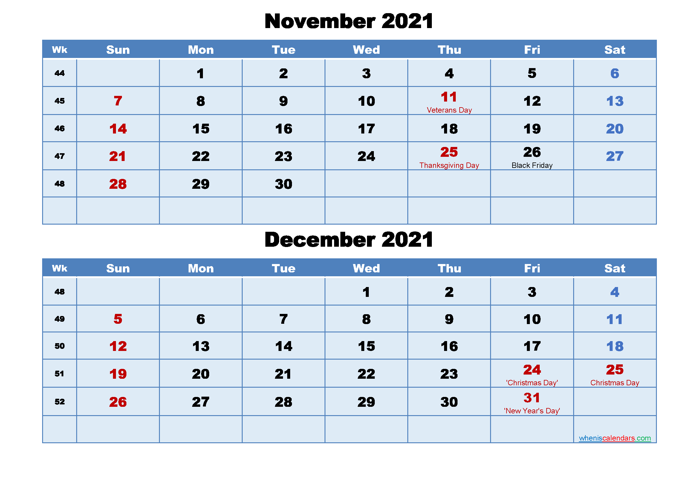 November And December 2021 Calendar With Holidays