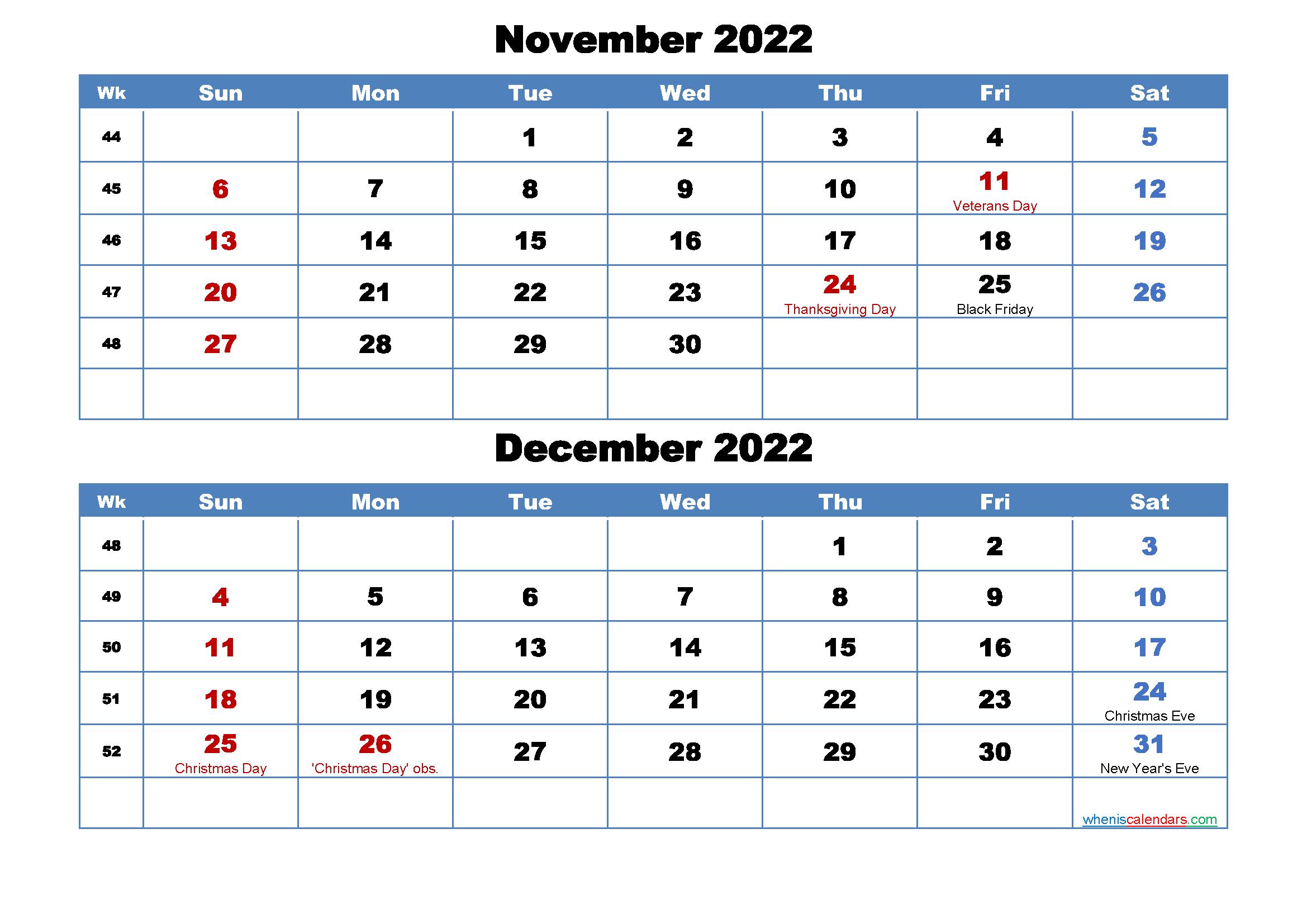 November December 2022 Calendar.Printable Calendar November And December 2022 Word Pdf Free Printable 2021 Monthly Calendar With Holidays