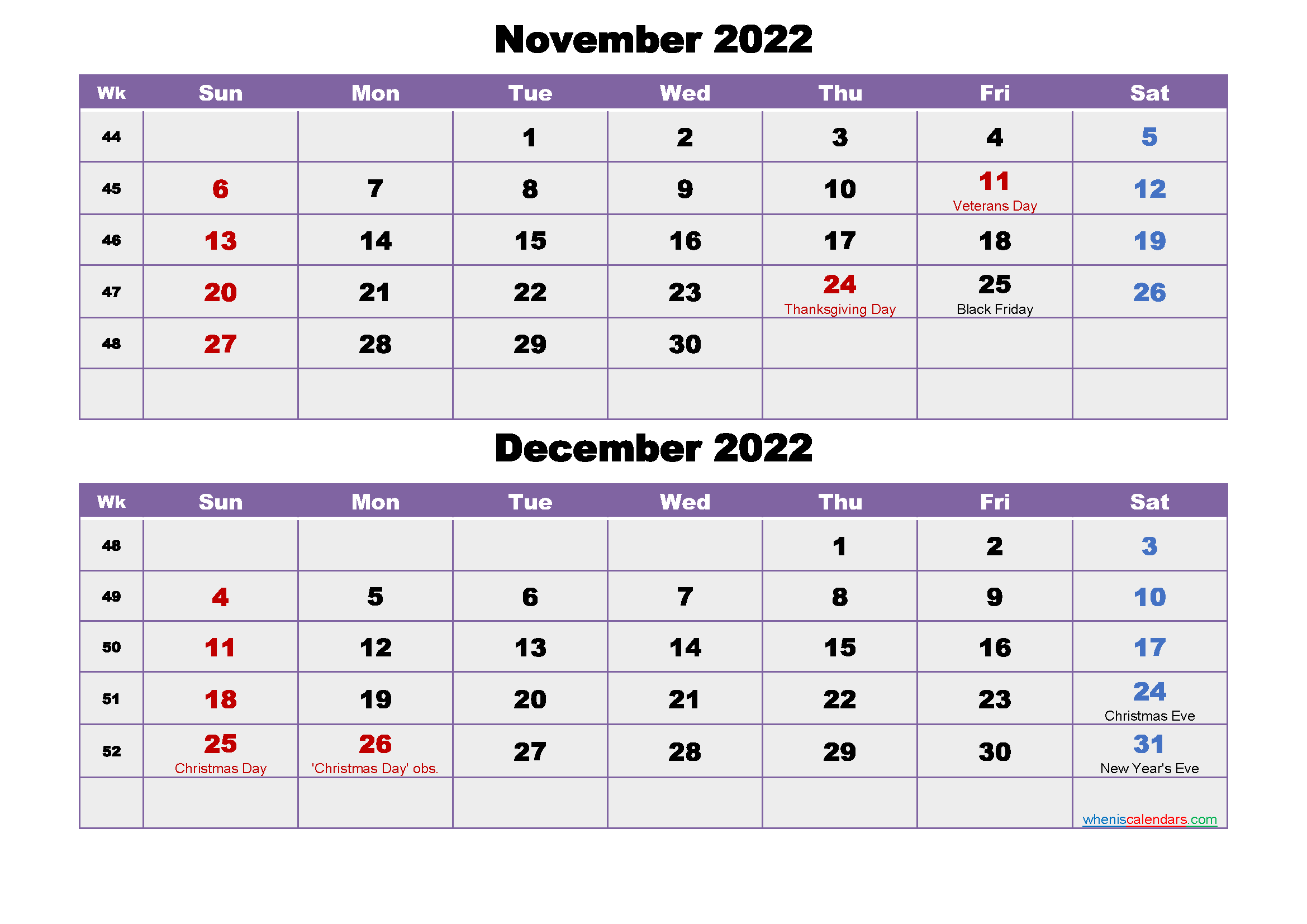 November and December Calendar 2022 Printable Word, PDF
