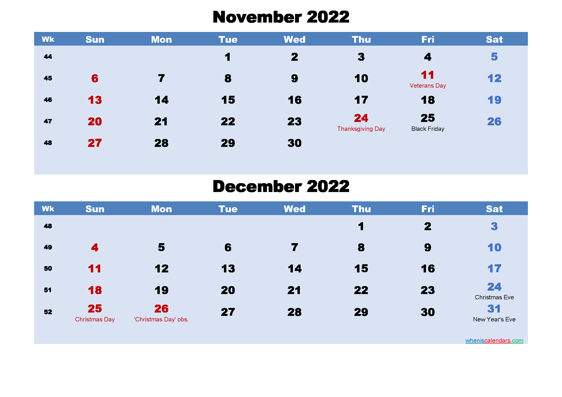 Printable Calendar November and December 2022 Word, PDF
