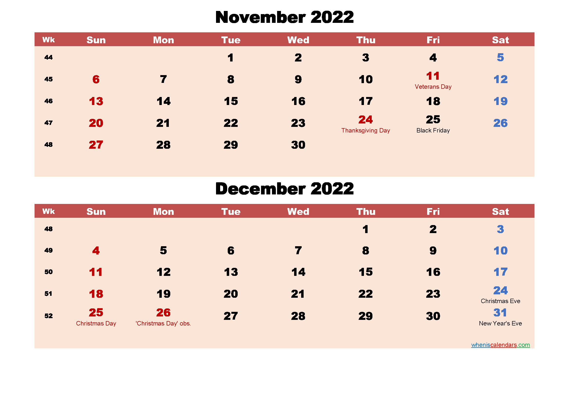 November and December Calendar 2022 Printable Word, PDF