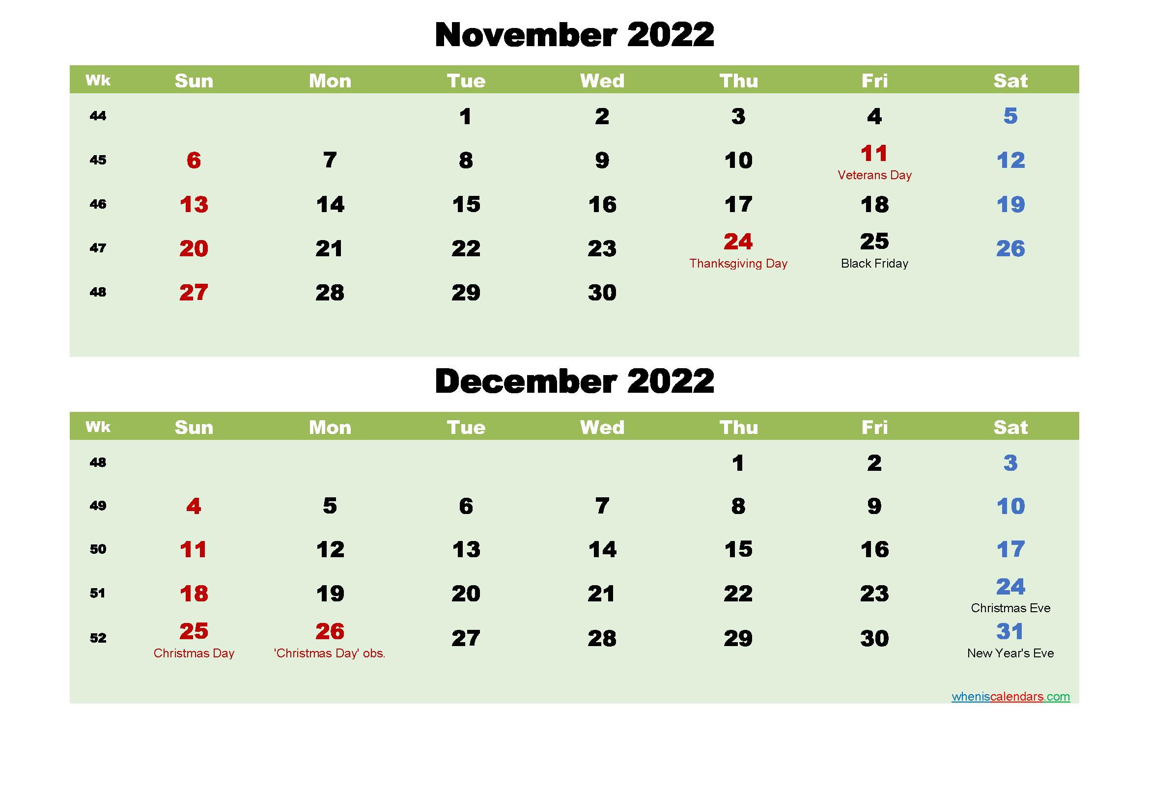 November and December 2022 Calendar with Holidays