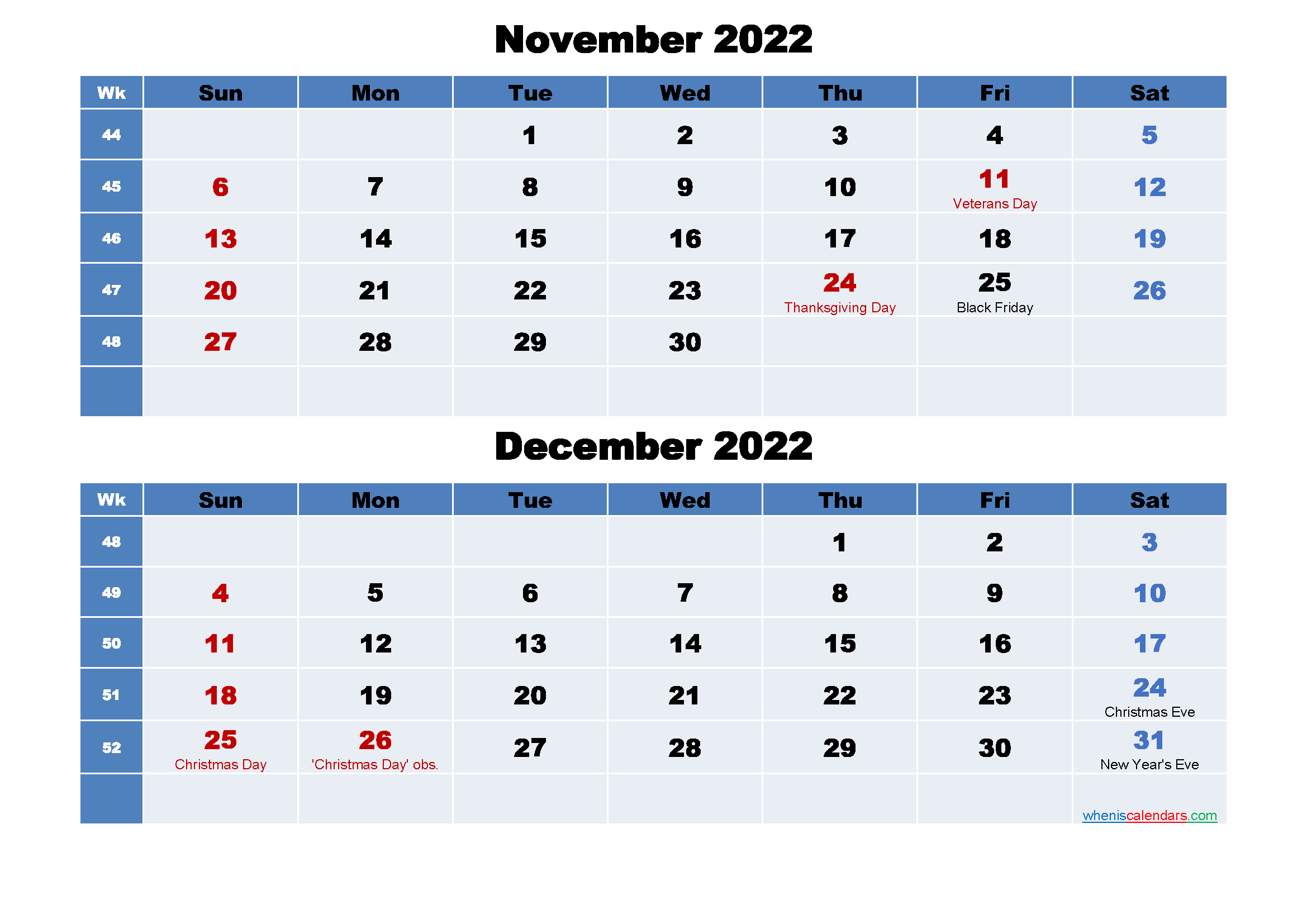 November and December 2022 Calendar with Holidays
