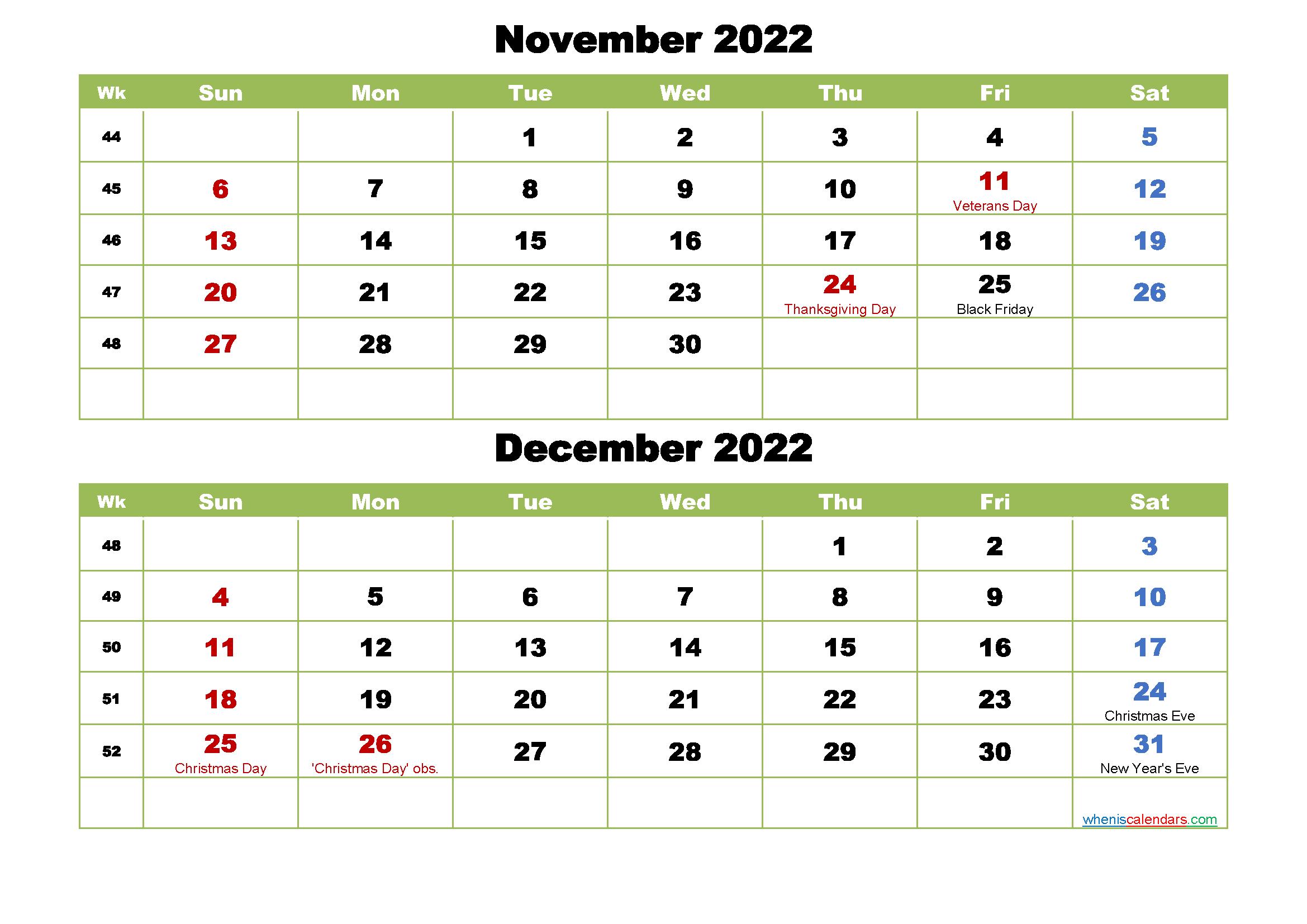 November and December 2022 Calendar with Holidays - Free ...
