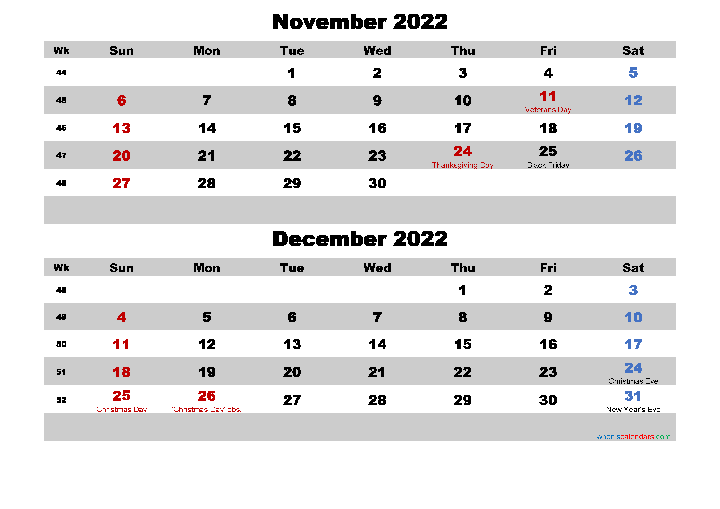 Calendar for November and December 2022 Word, PDF