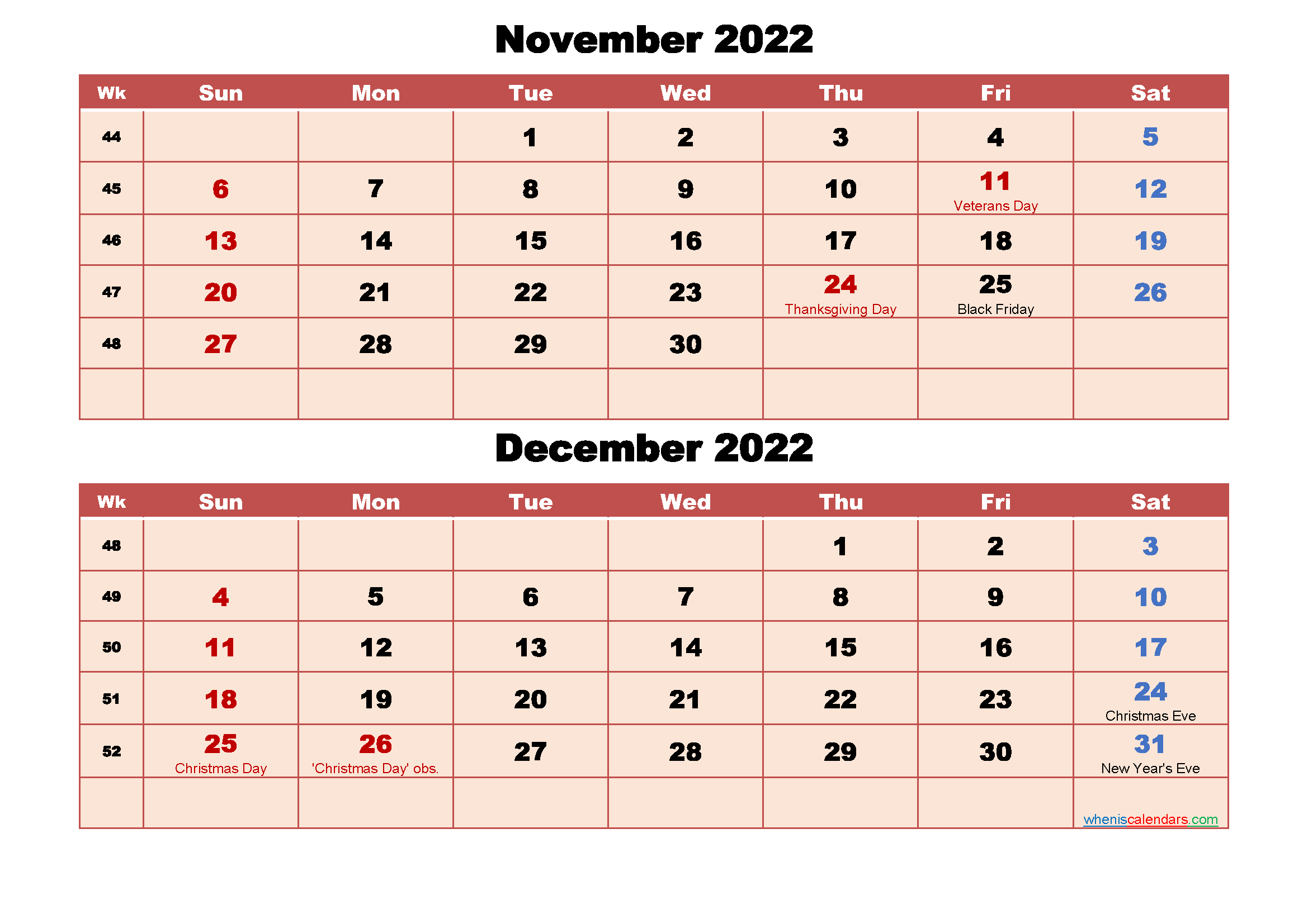 Calendar for November and December 2022 Word, PDF
