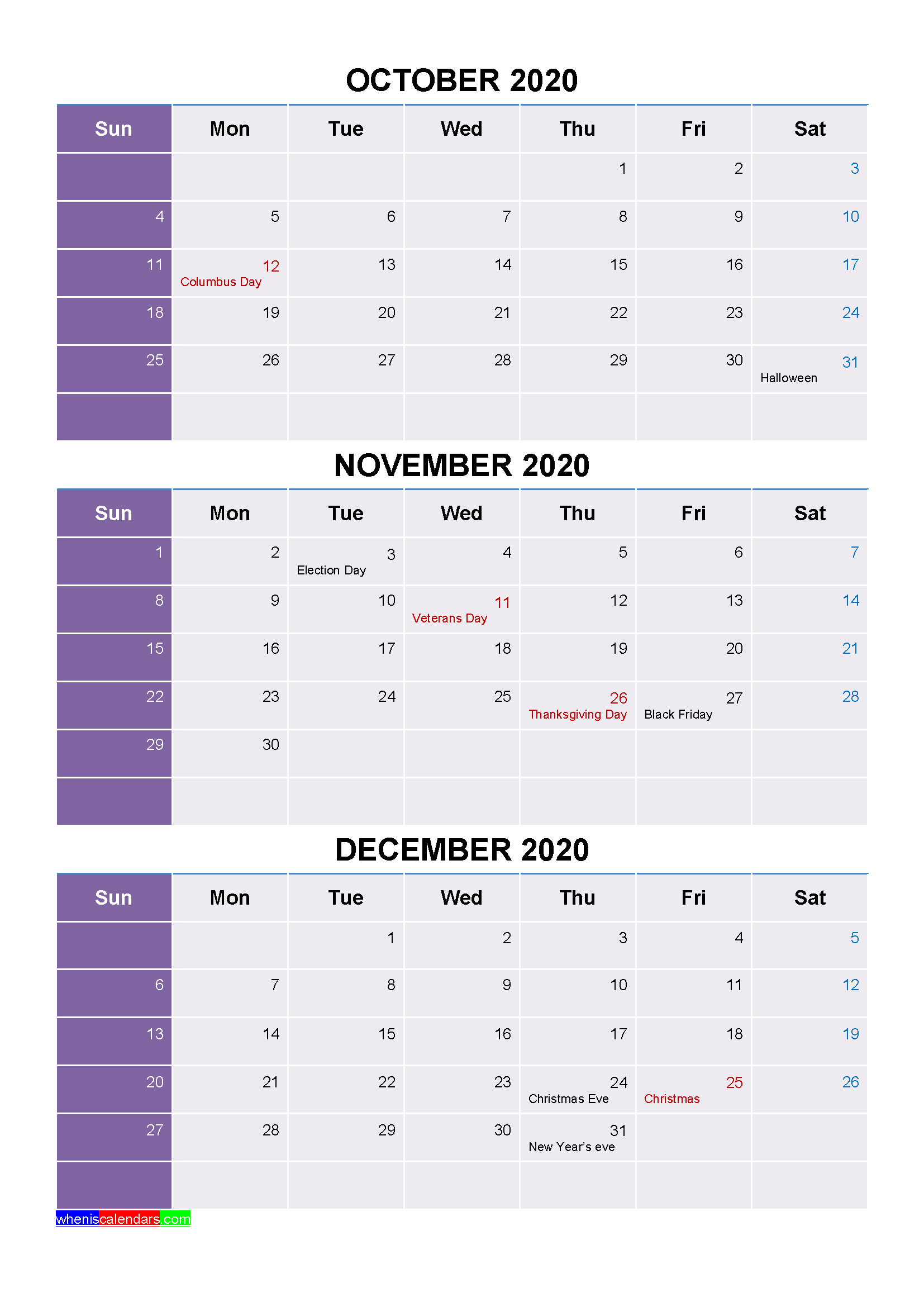 Printable October November December 2020 Calendar with Holidays