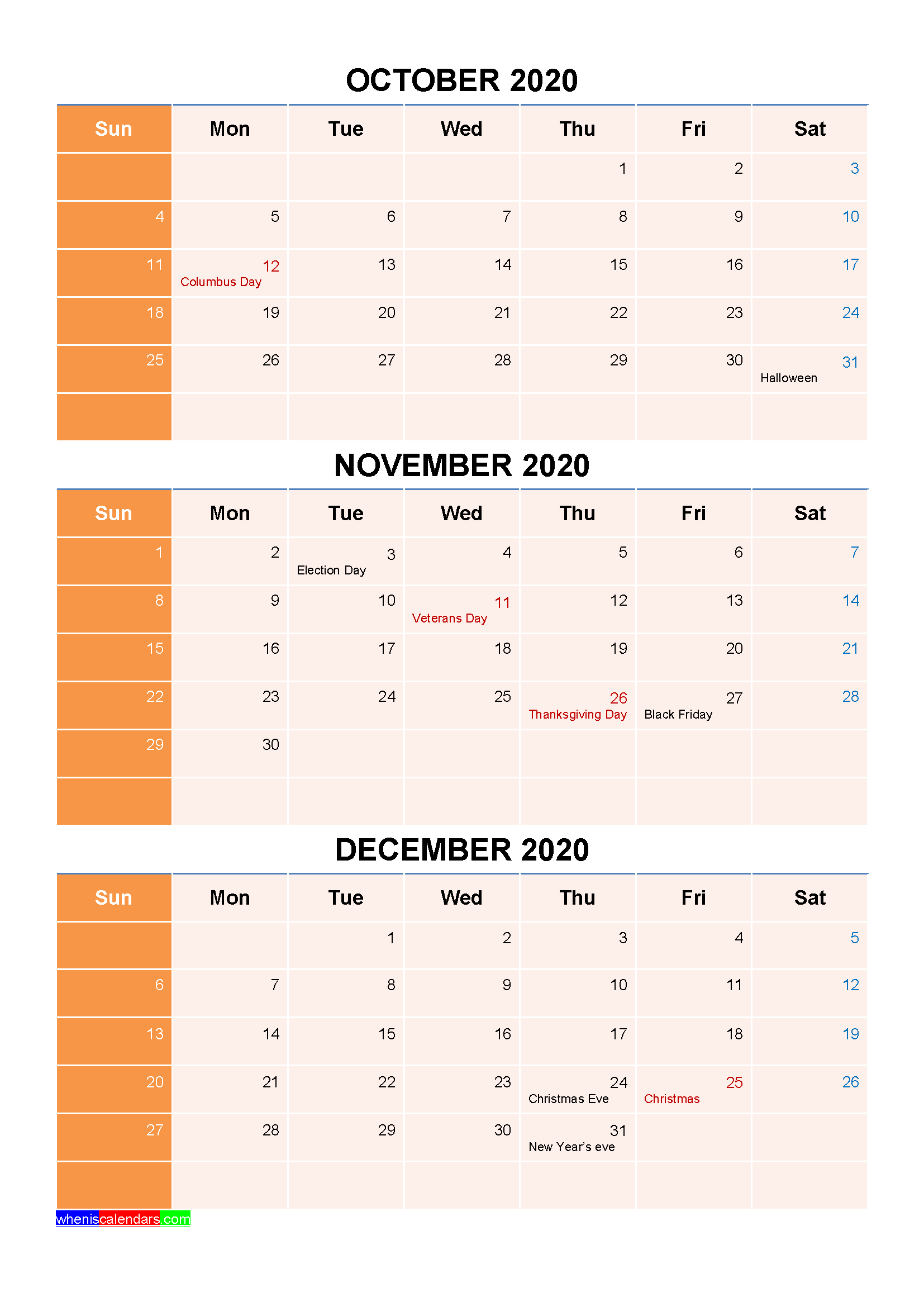 Free Printable October November December 2020 Calendar with Holidays as Word, PDF