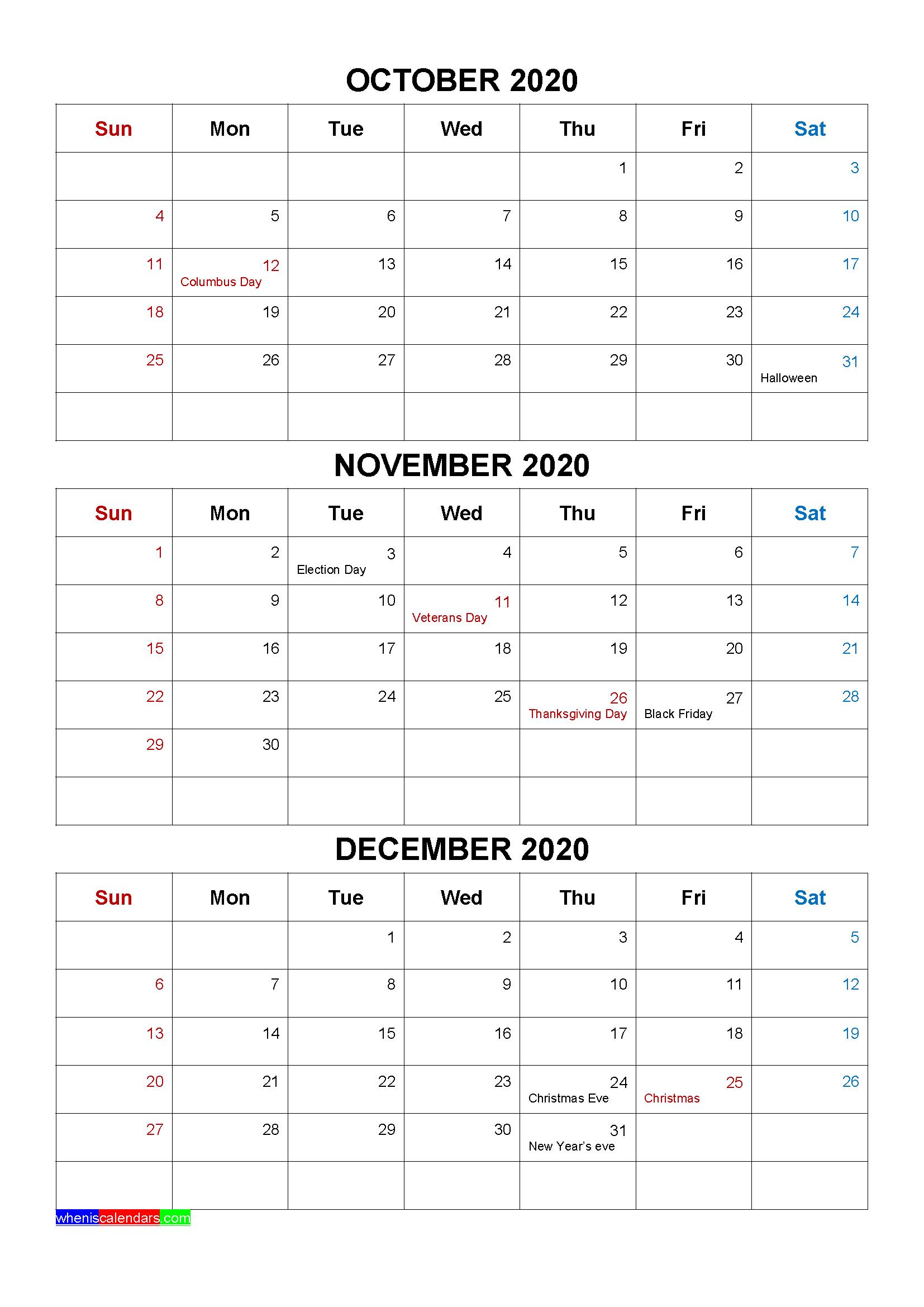 Free October November December 2020 Calendar with Holidays
