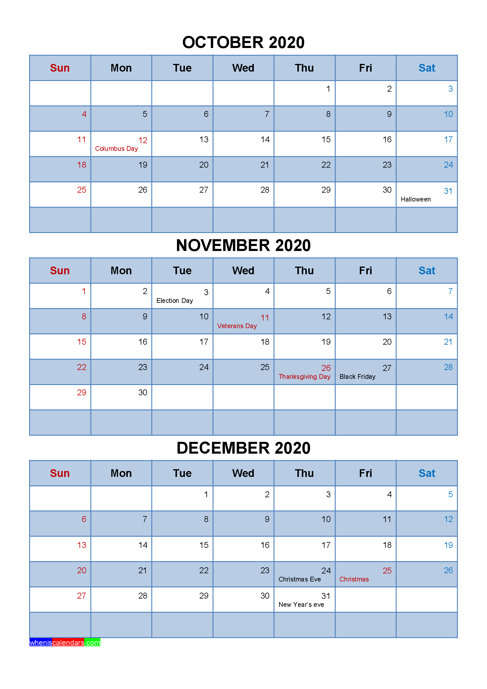 Free Calendar October November December 2020 with Holidays