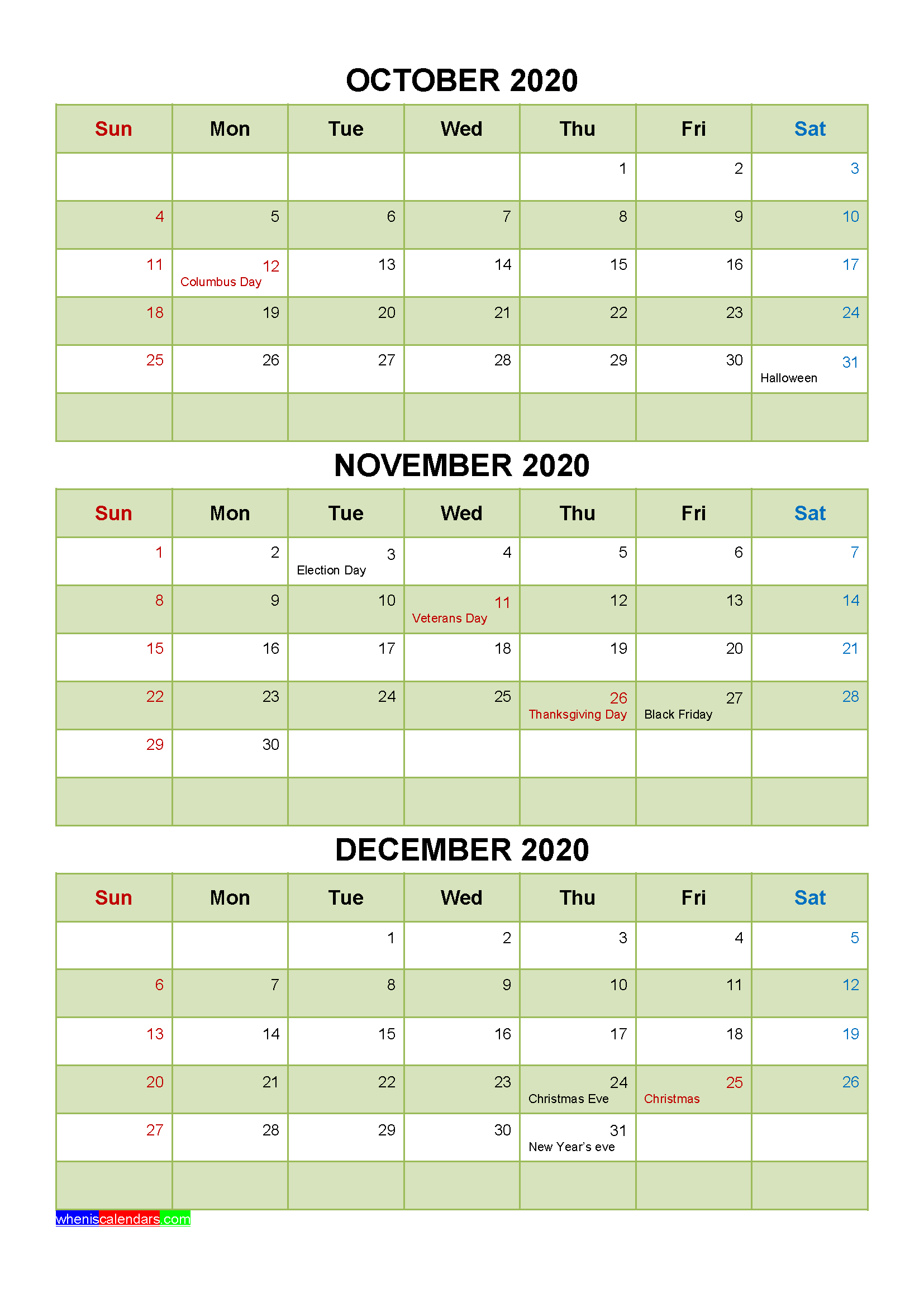 October November December 2020 Calendar with Holidays Word, PDF