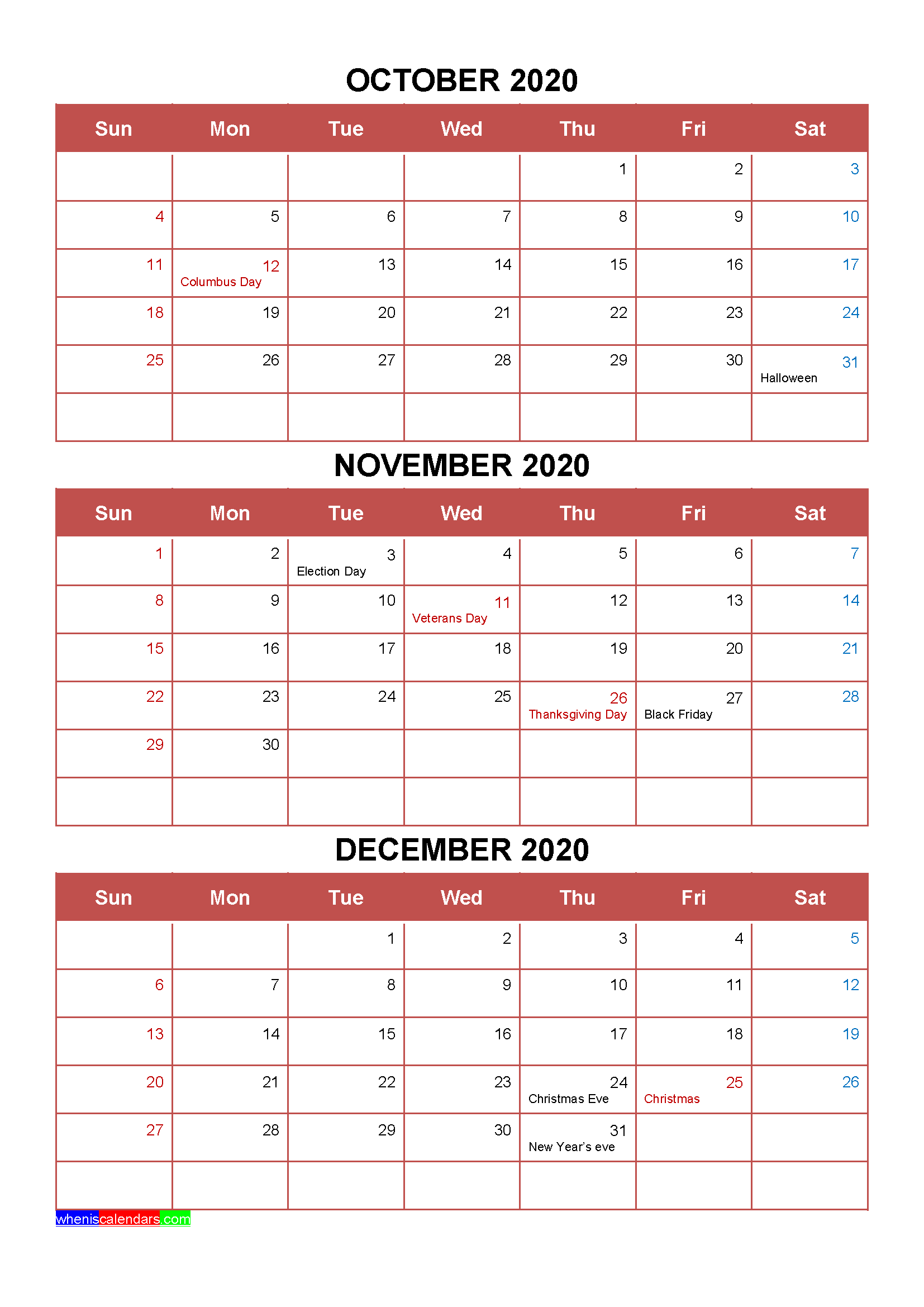 Free October November December 2020 Calendar with Holidays