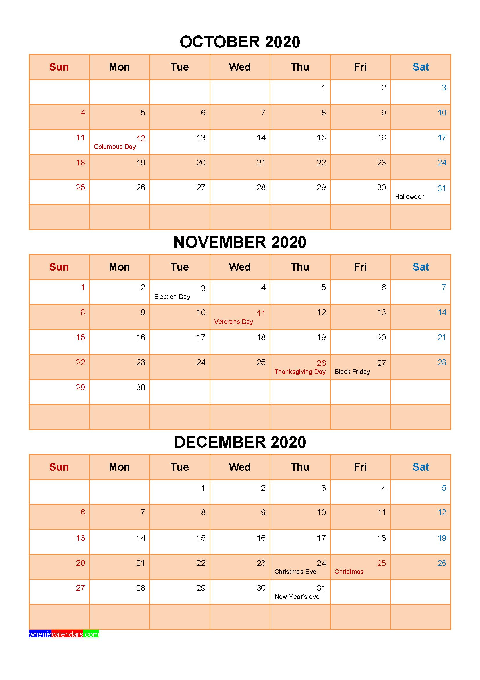 Printable October November December 2020 Calendar with Holidays