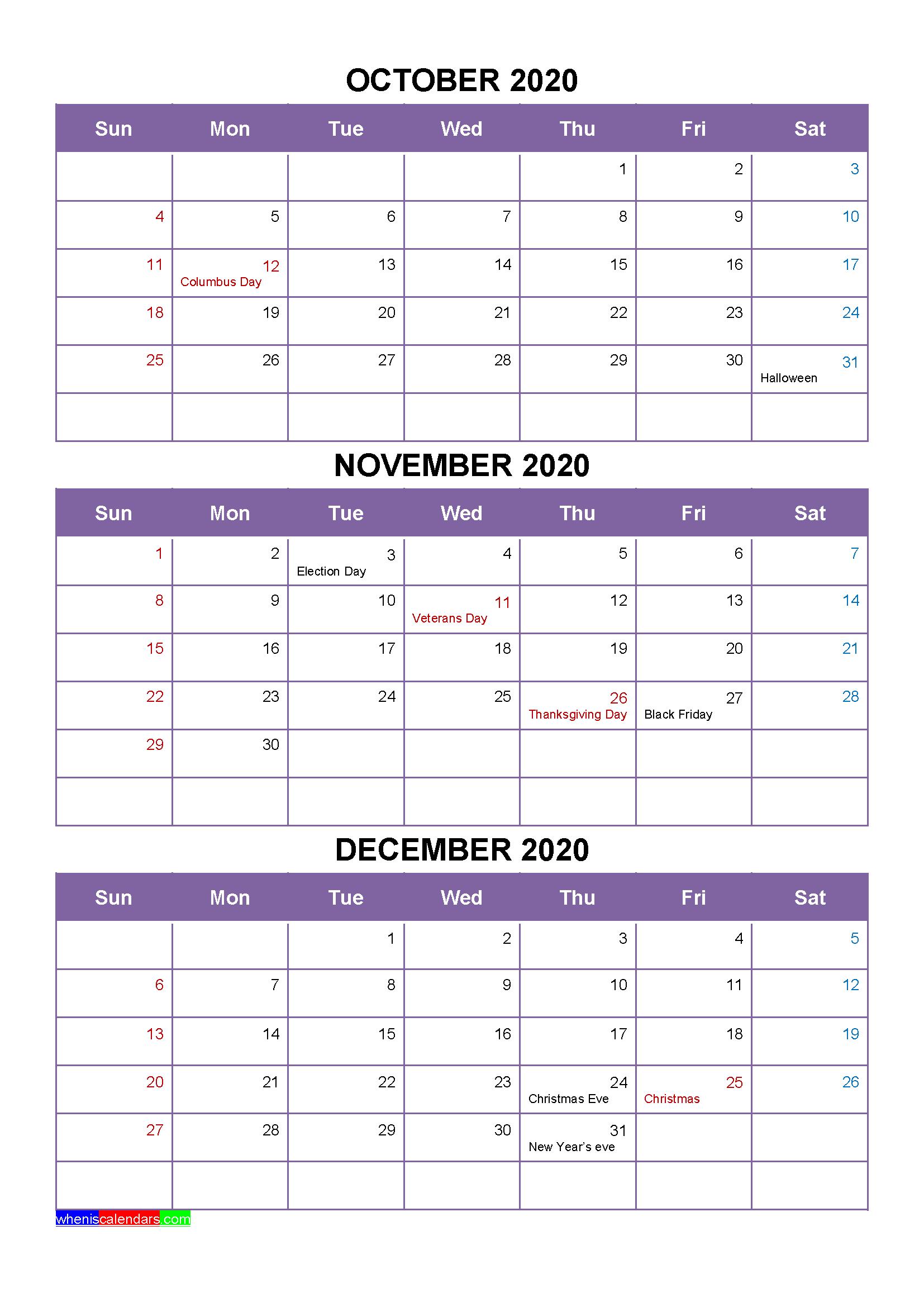 Free Calendar October November December 2020 with Holidays