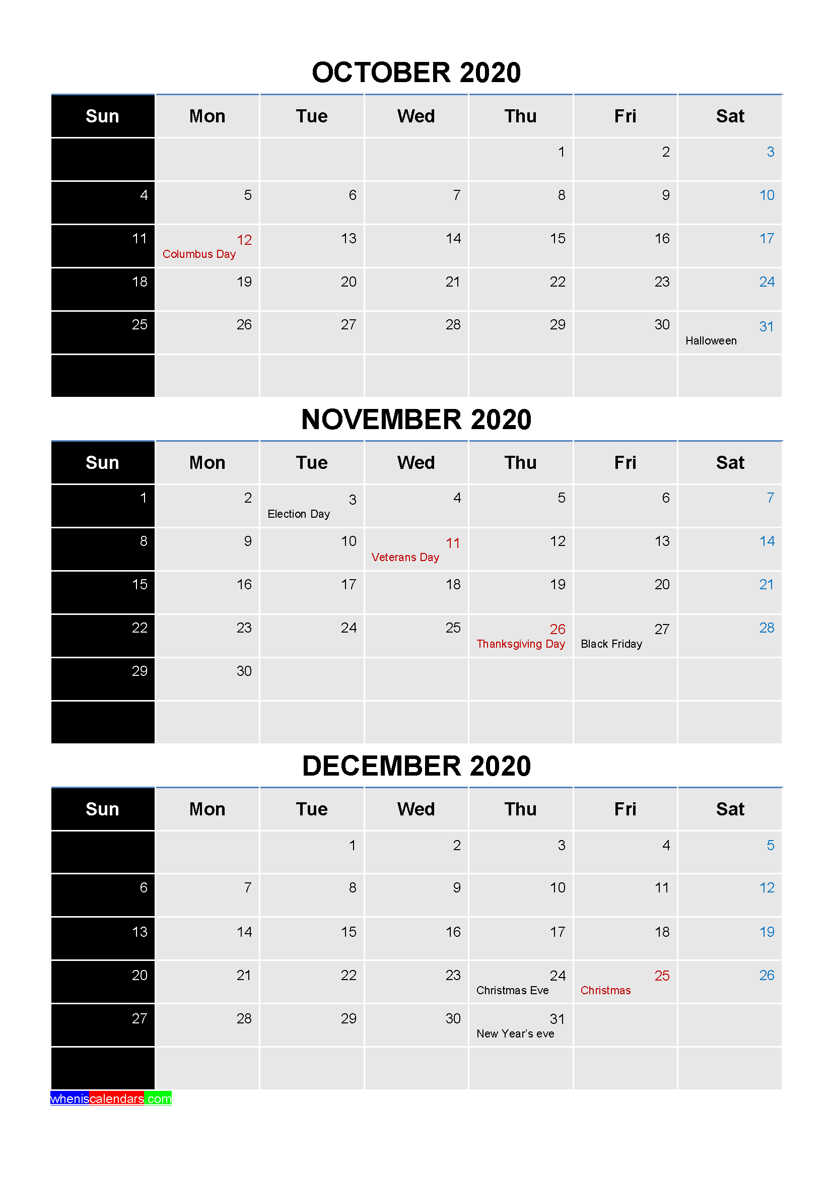 October November December 2020 Calendar with Holidays