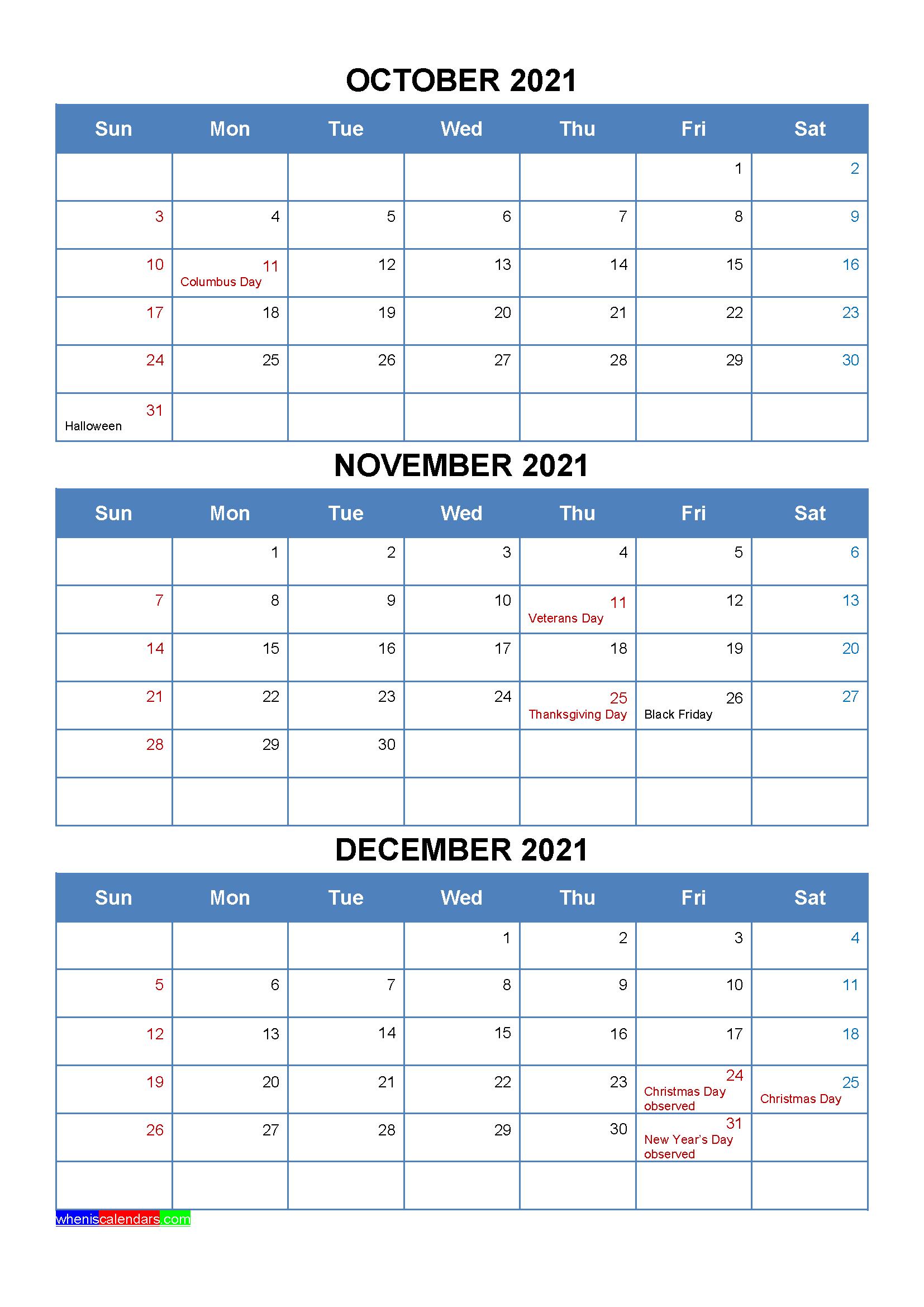 October November December 2021 Calendar with Holidays