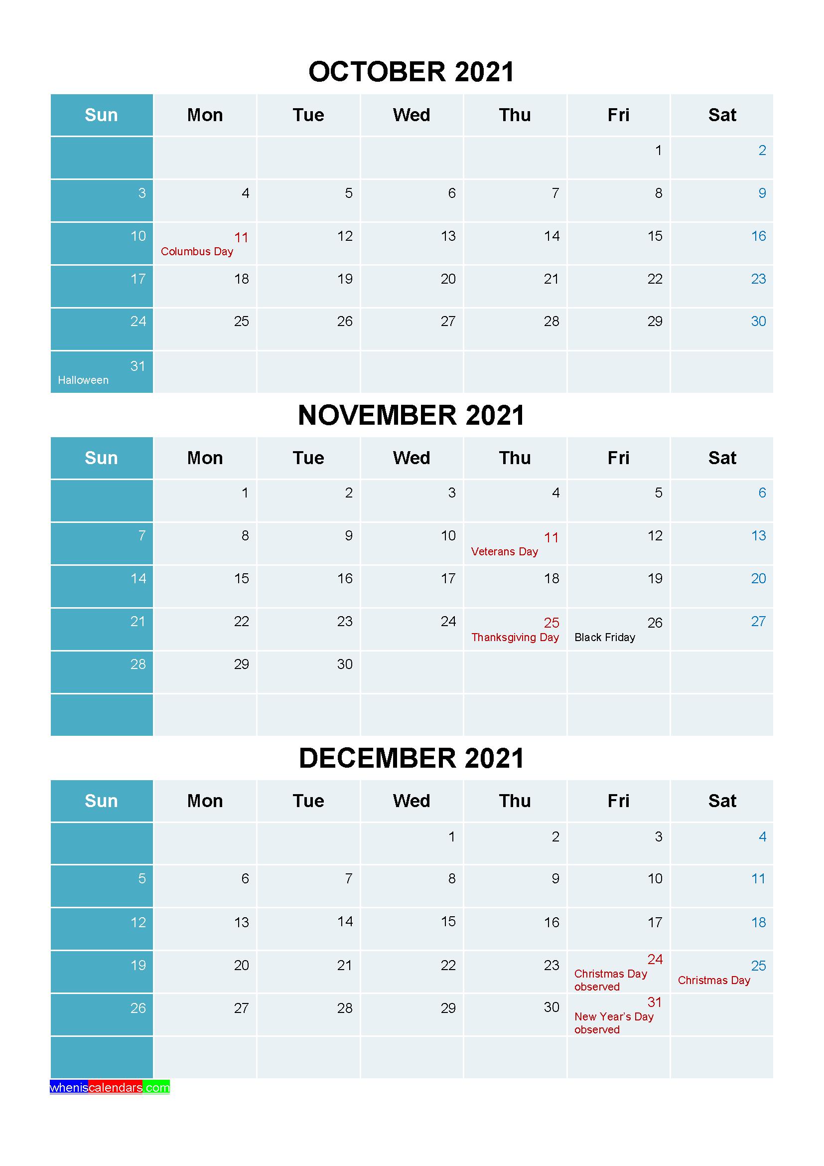 October November December 2021 Calendar with Holidays Printable