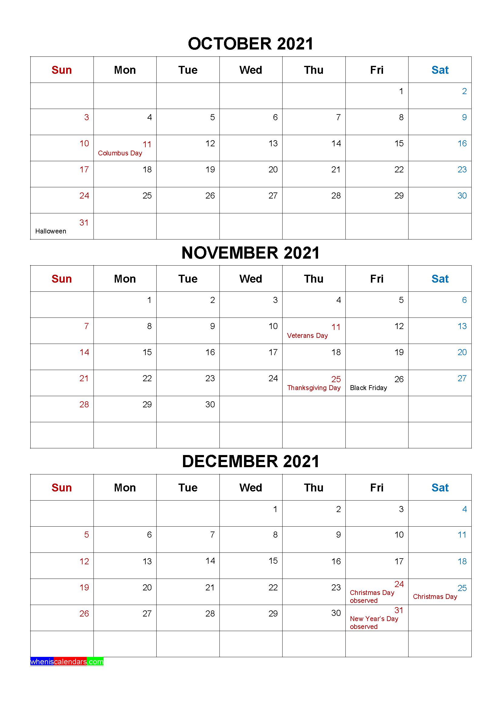 Free October November December 2021 Calendar with Holidays