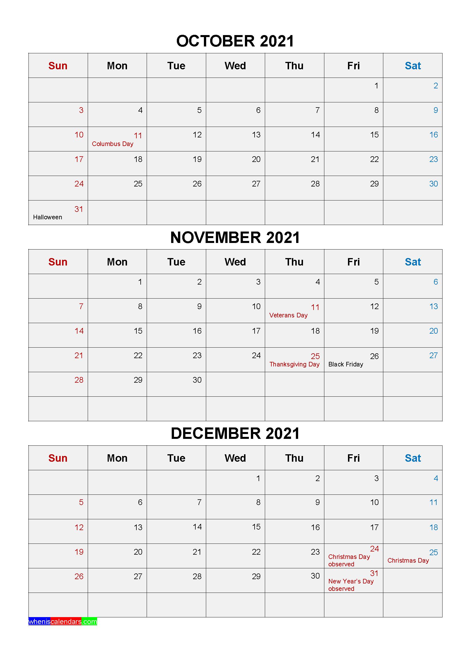 Printable October November December 2021 Calendar with Holidays