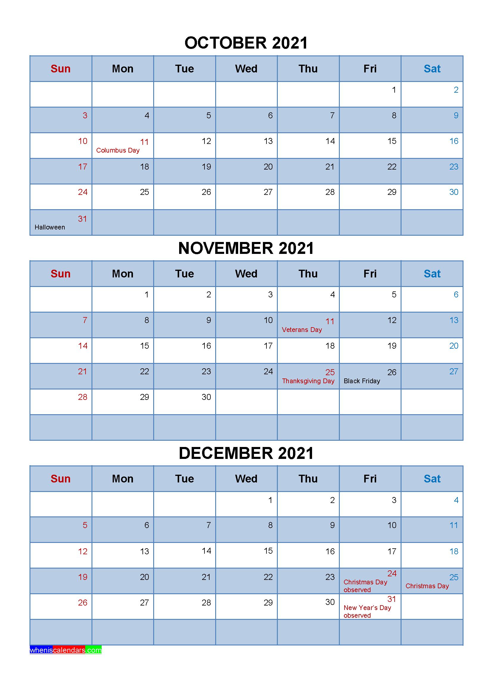 Free Calendar October November December 2021 with Holidays
