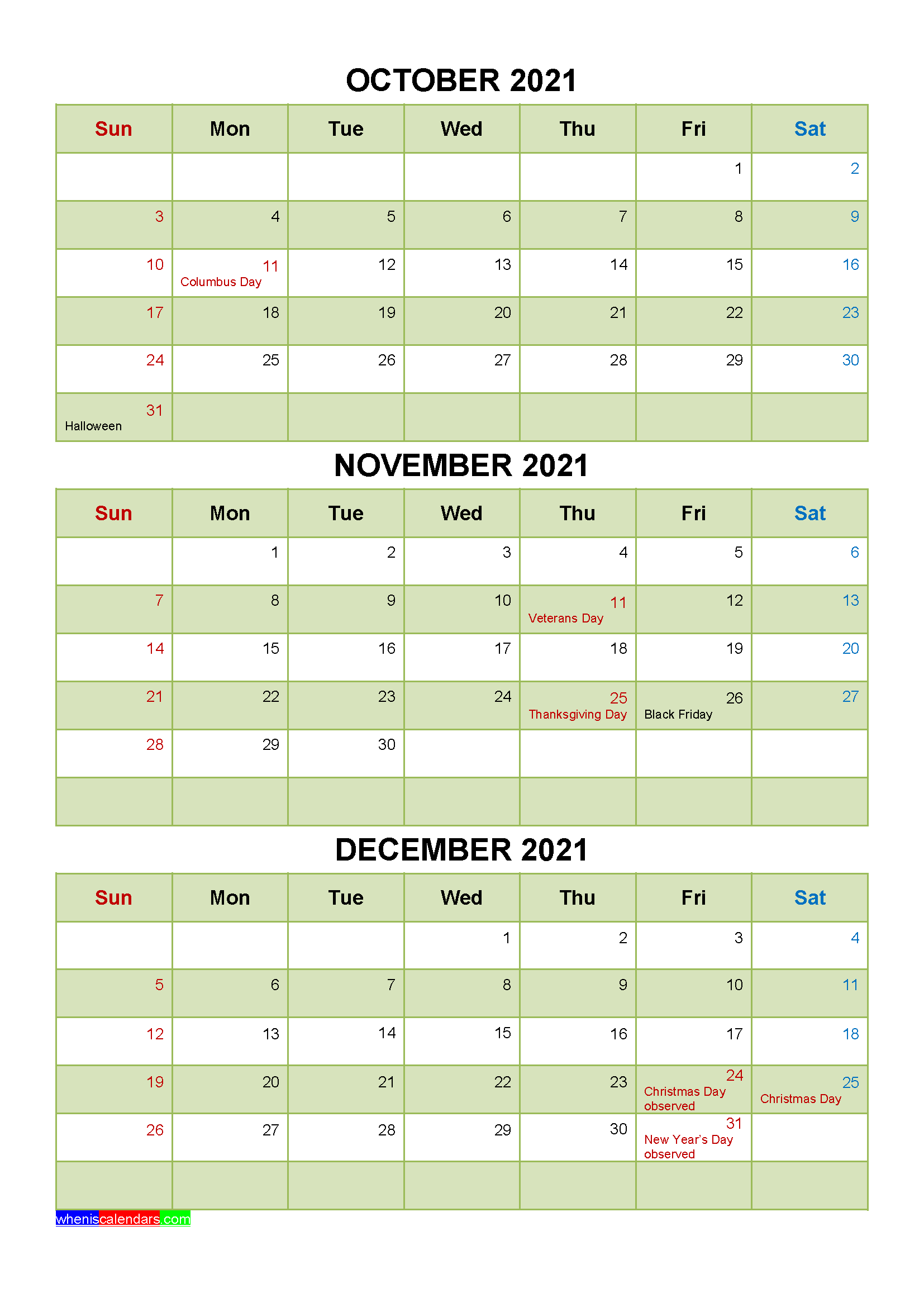 October November December 2021 Calendar with Holidays Word, PDF