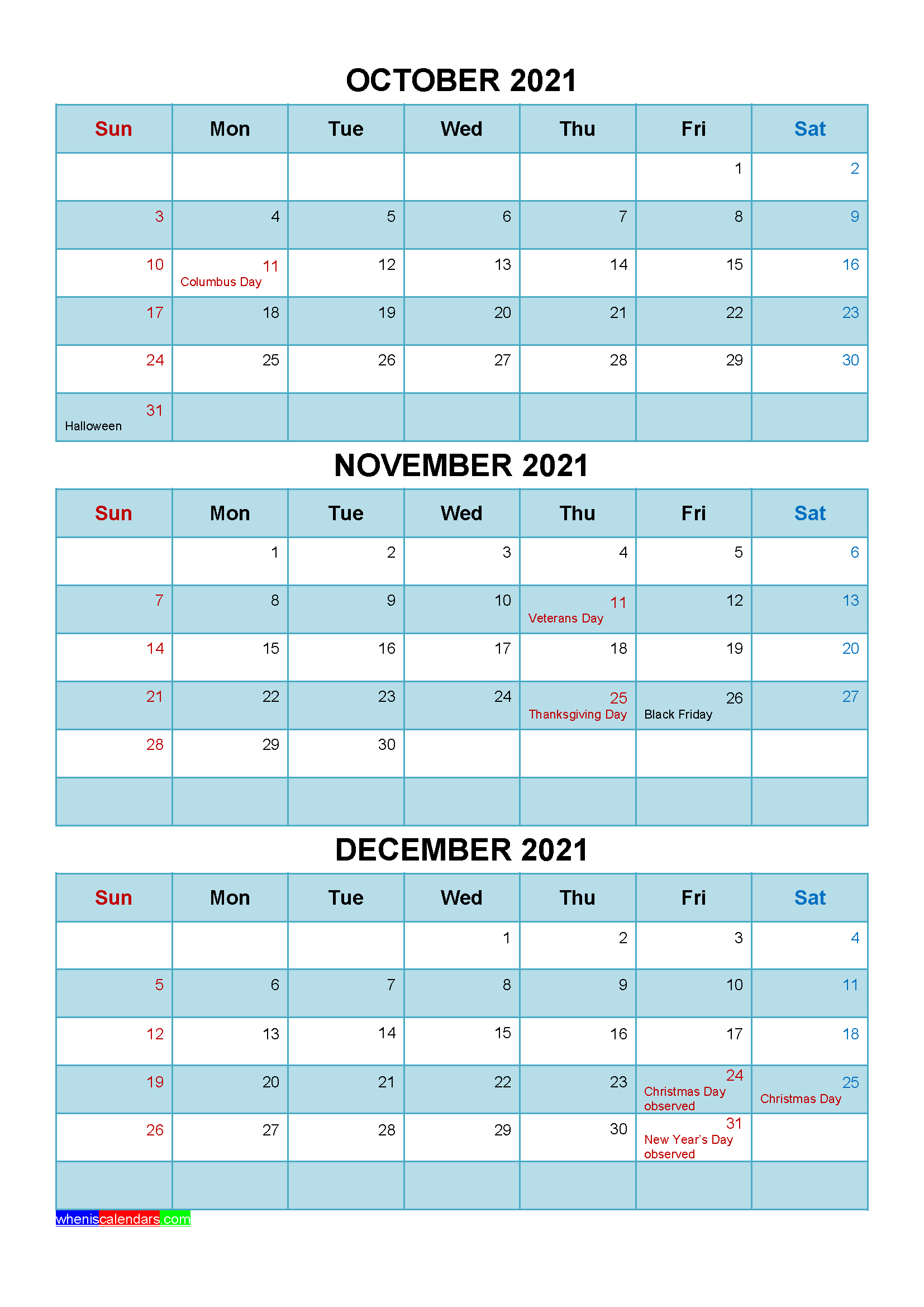 Free October November December 2021 Calendar with Holidays