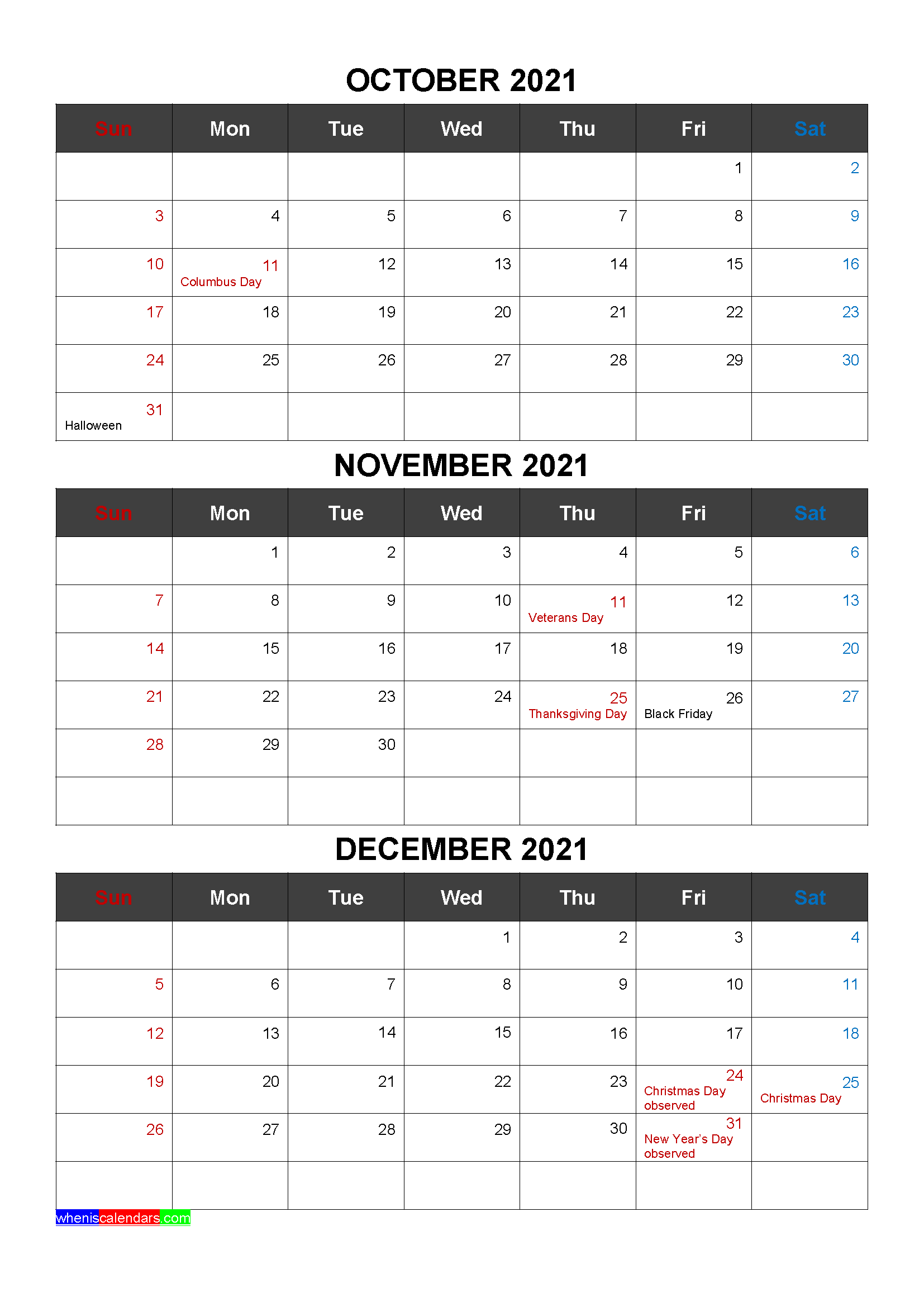 Free Calendar October November December 2021 with Holidays