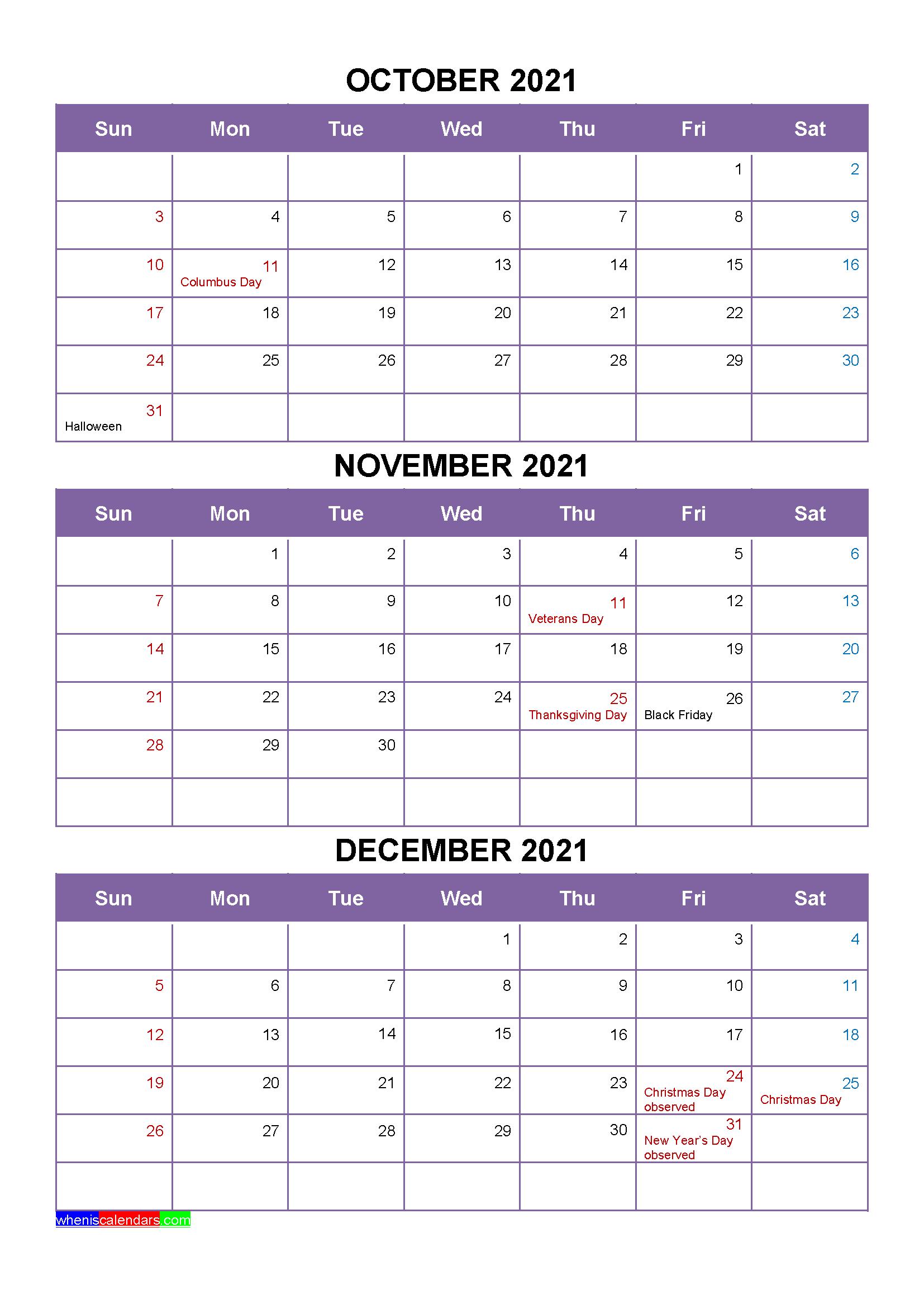 Free October November December 2021 Printable Calendar ...