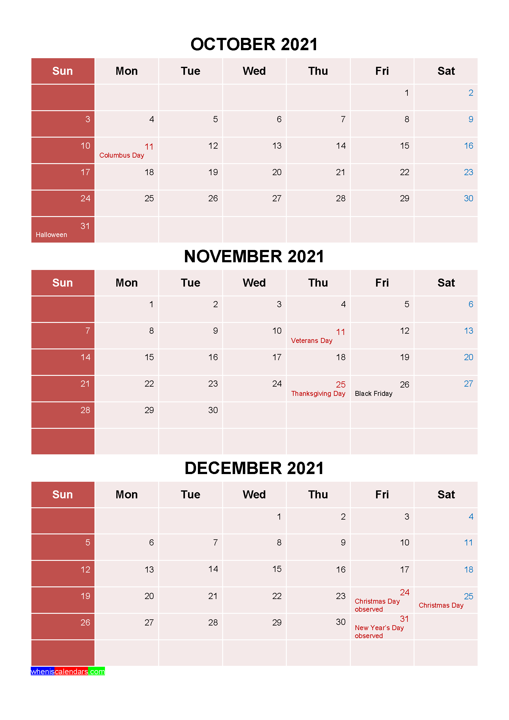 Printable October November December 2021 Calendar with Holidays