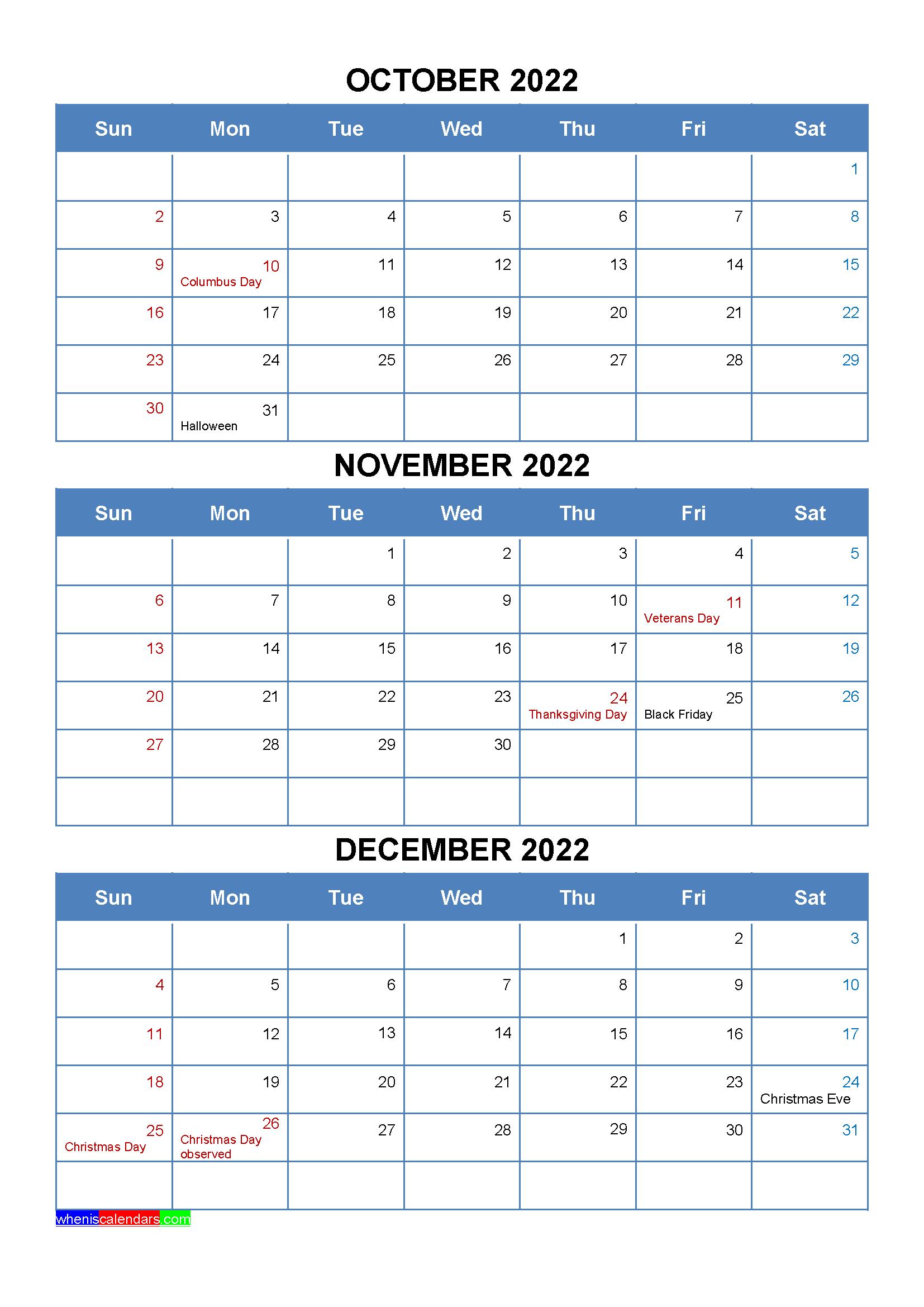October November December 2022 Calendar with Holidays