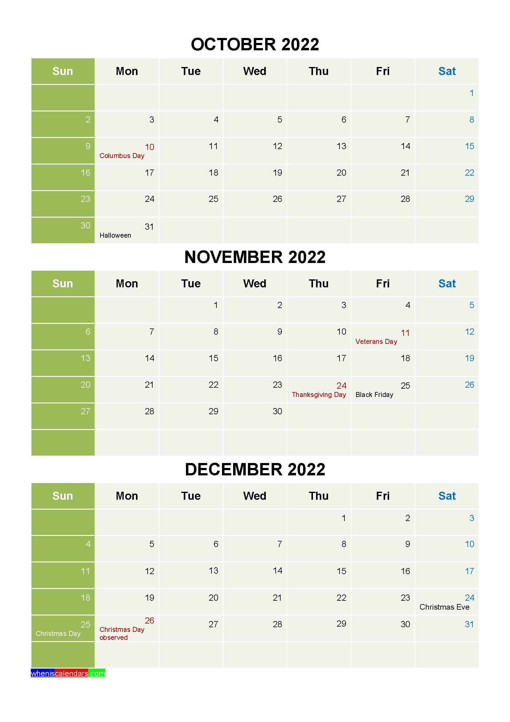 Free Calendar October November December 2022 with Holidays