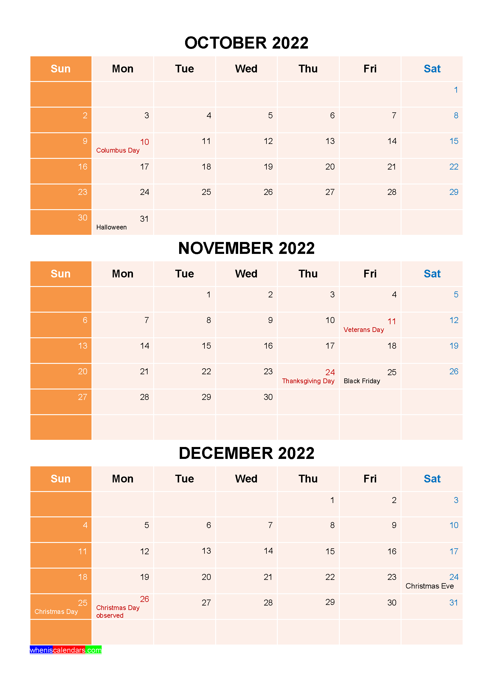 October November December 2022 Calendar with Holidays