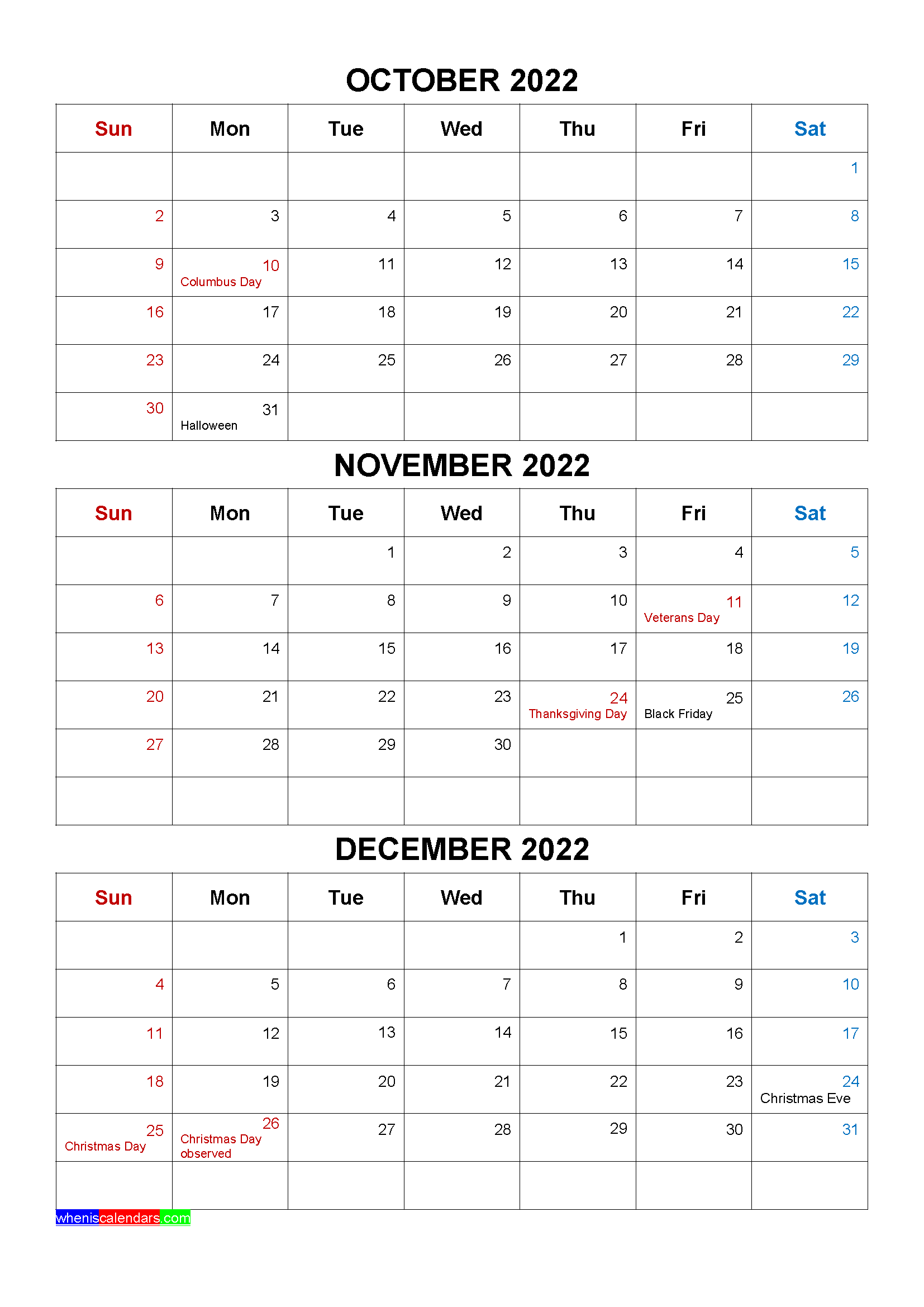 Free October November December 2022 Calendar with Holidays