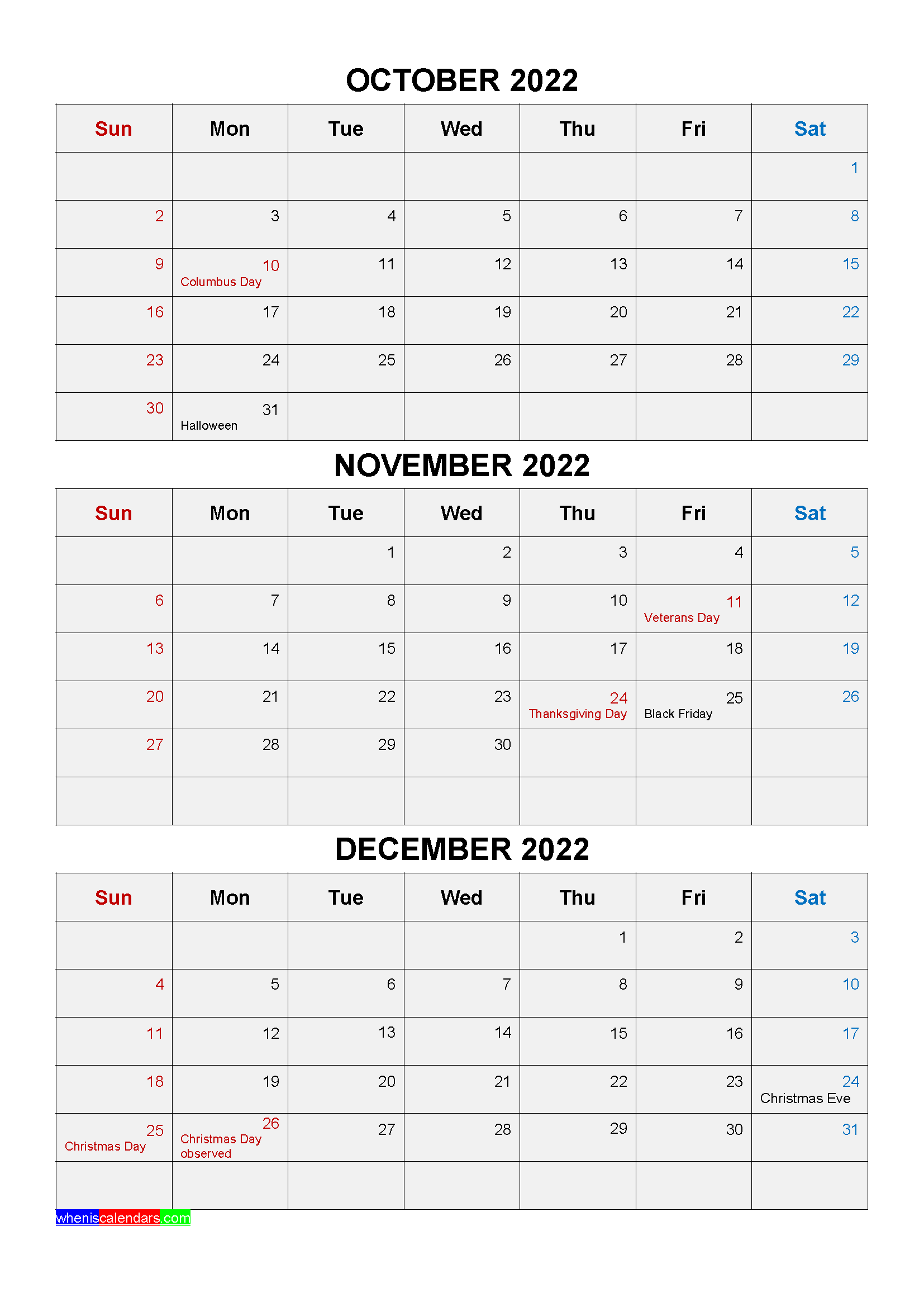 Printable October November December 2022 Calendar with Holidays