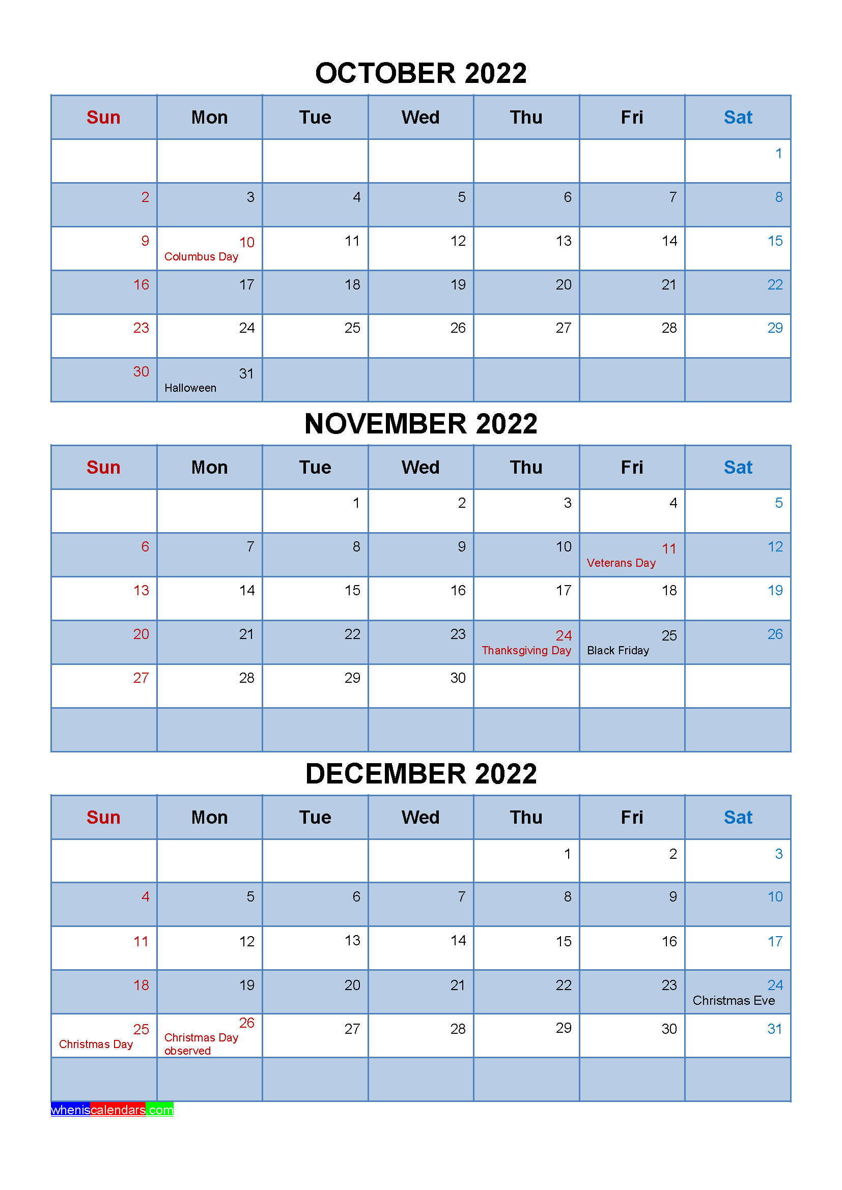 Free Calendar October November December 2022 with Holidays
