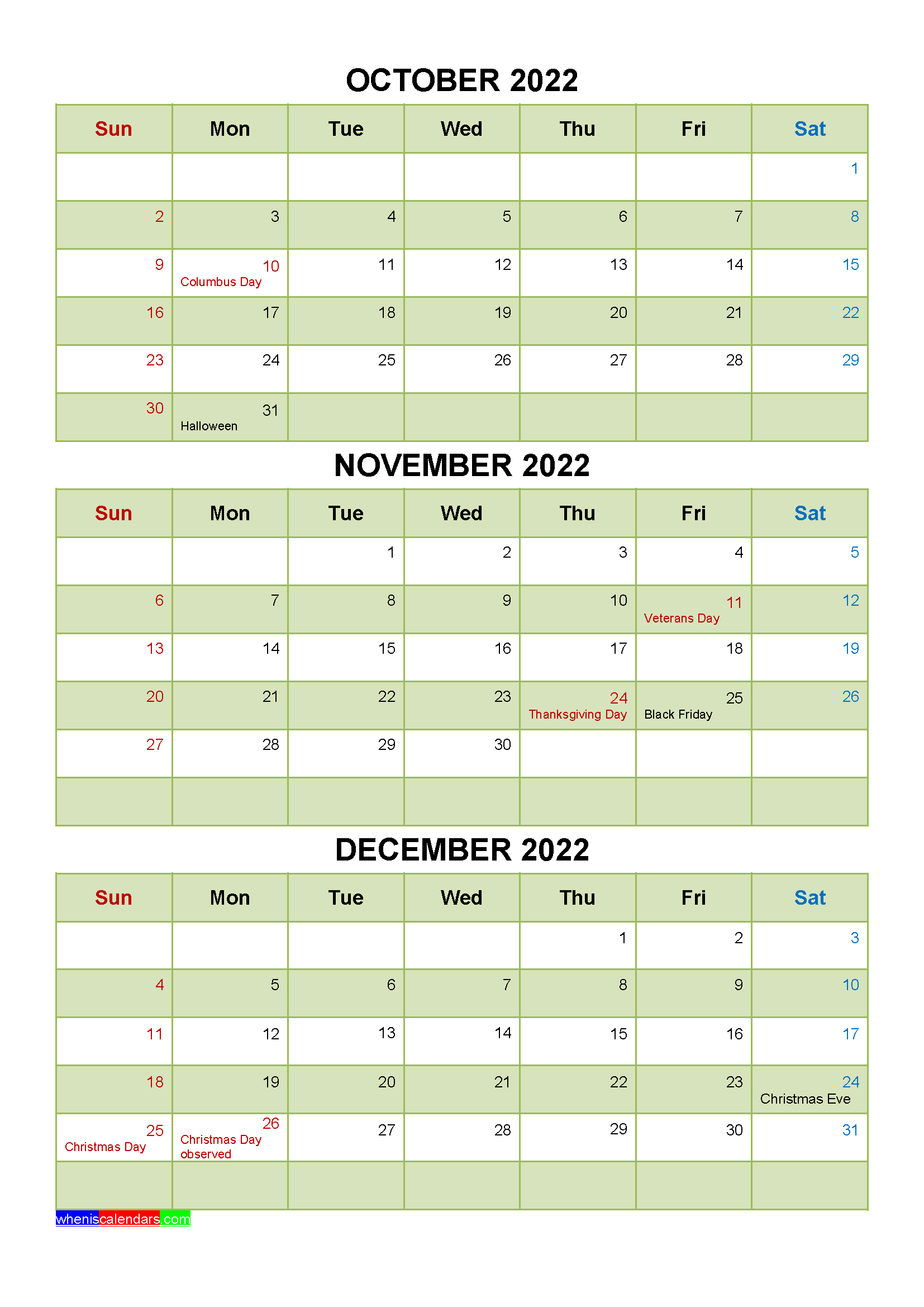 October November December 2022 Calendar with Holidays Printable