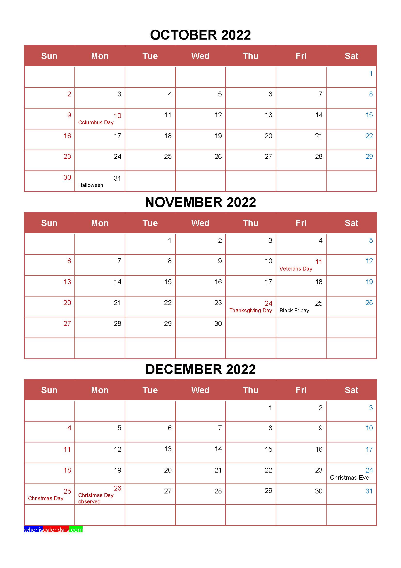 Free October November December 2022 Calendar with Holidays