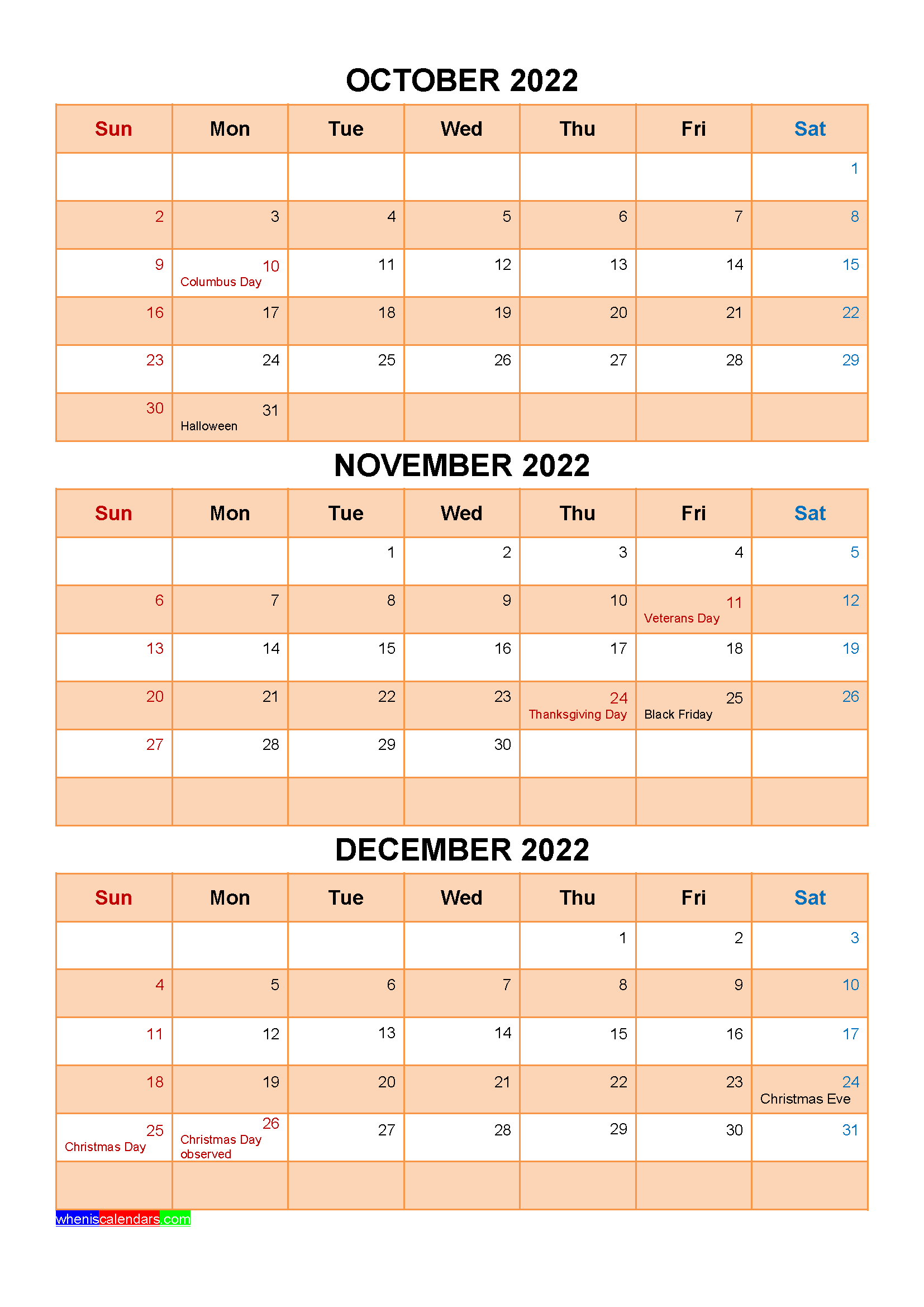 Printable October November December 2022 Calendar with Holidays