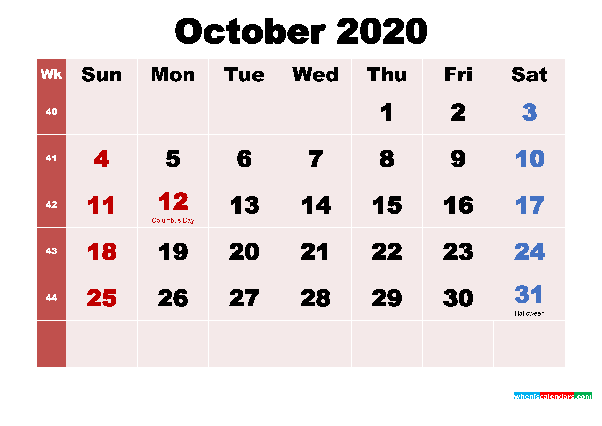 October 2020 Desktop Calendar Monthly