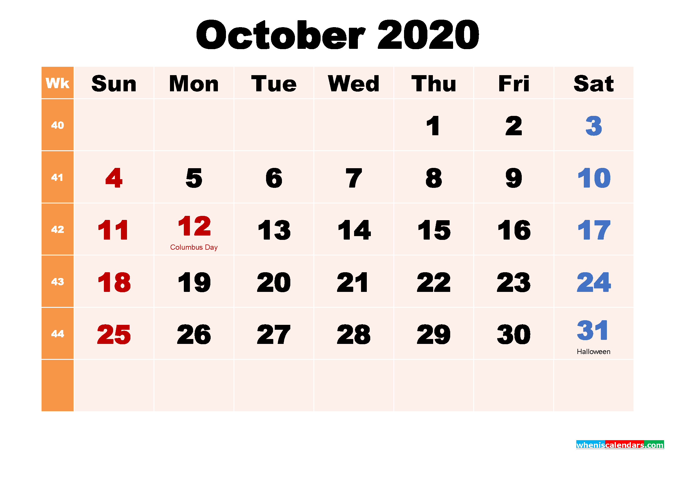 Free Printable 2020 Calendar with Holidays October
