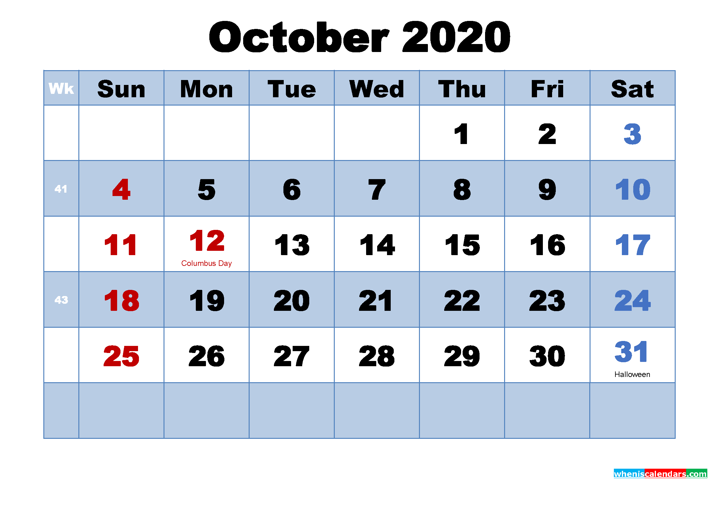 October 2020 Calendar with Holidays Printable