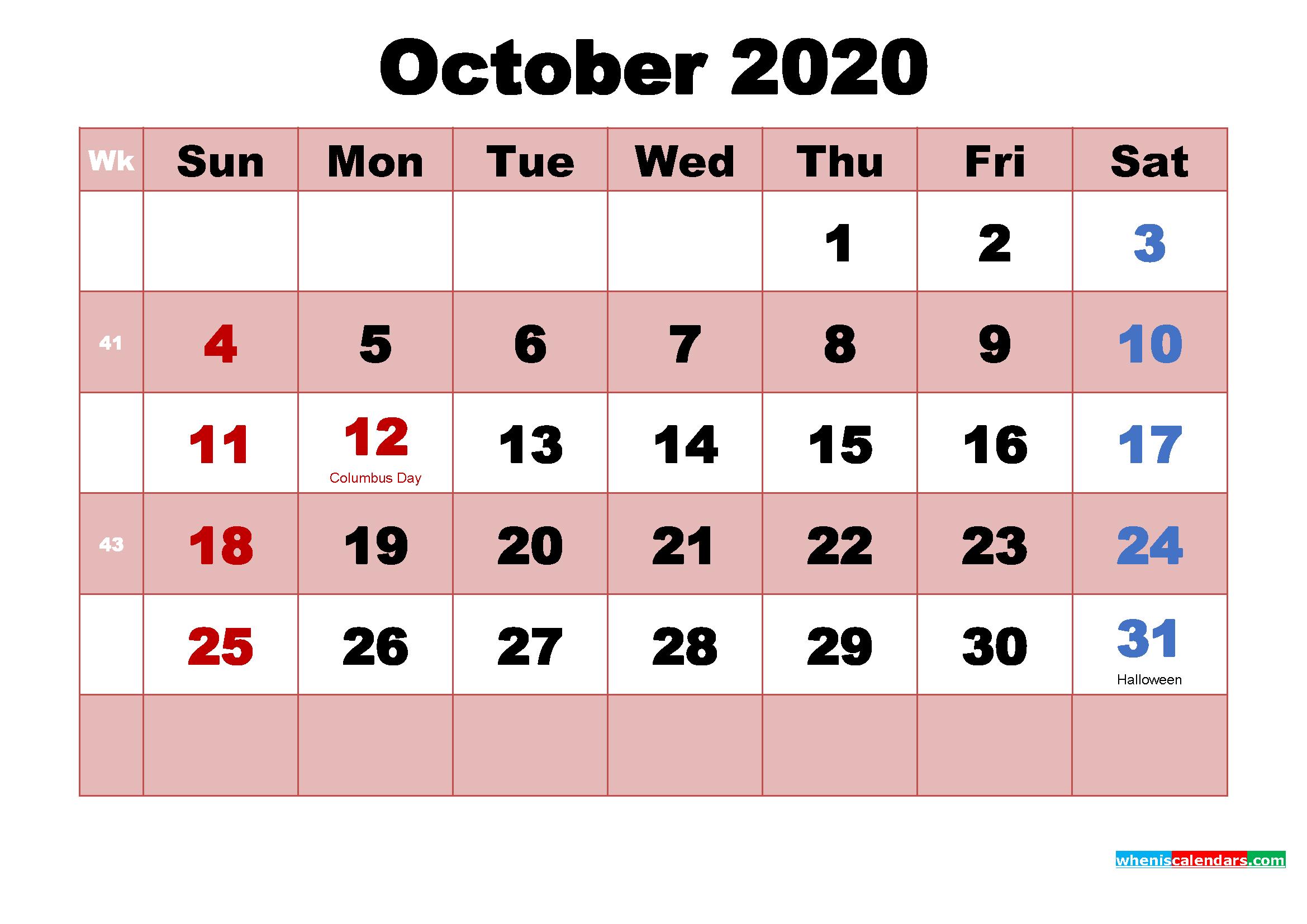 Printable October 2020 Calendar Word