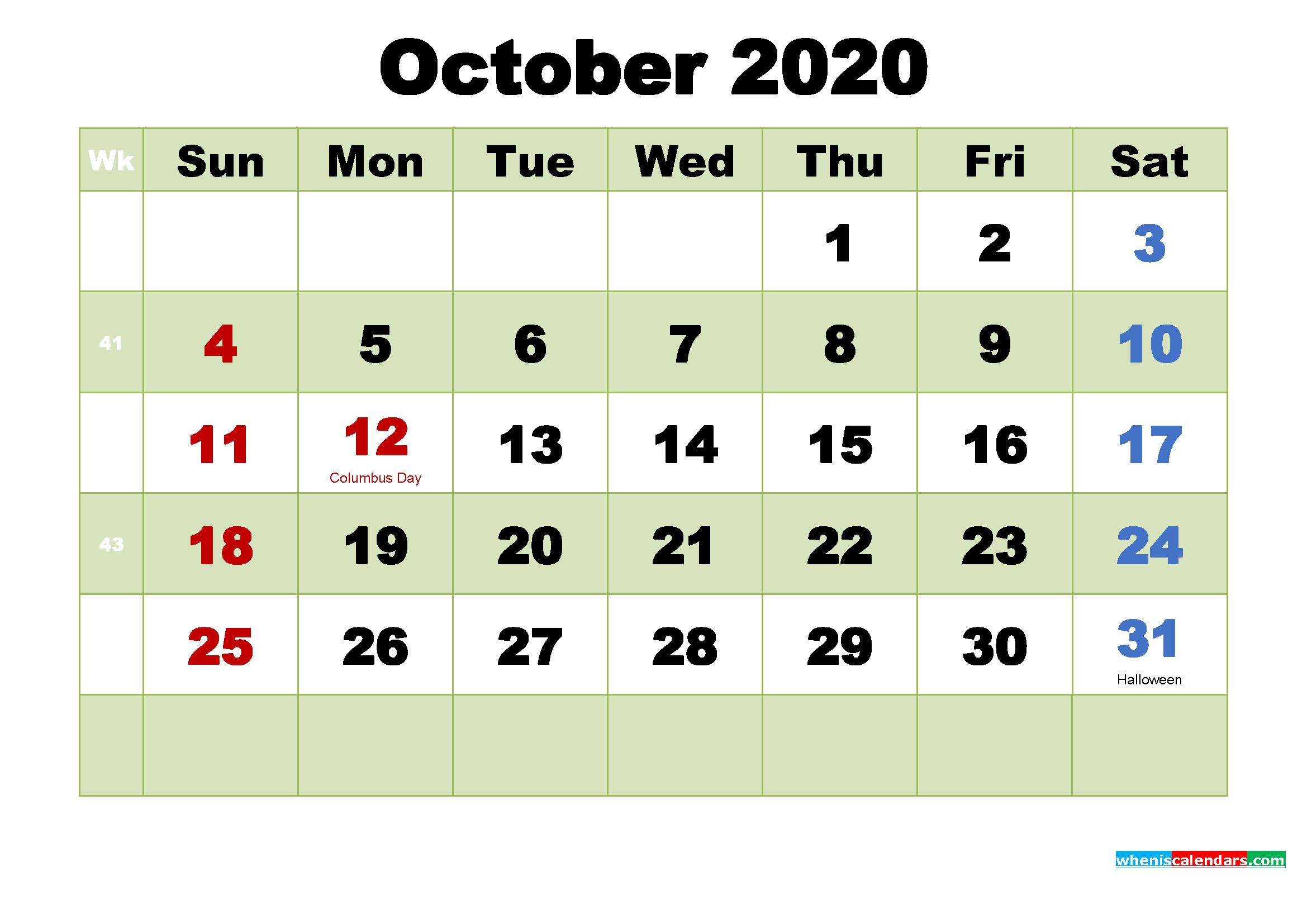Printable Calendar for October 2020