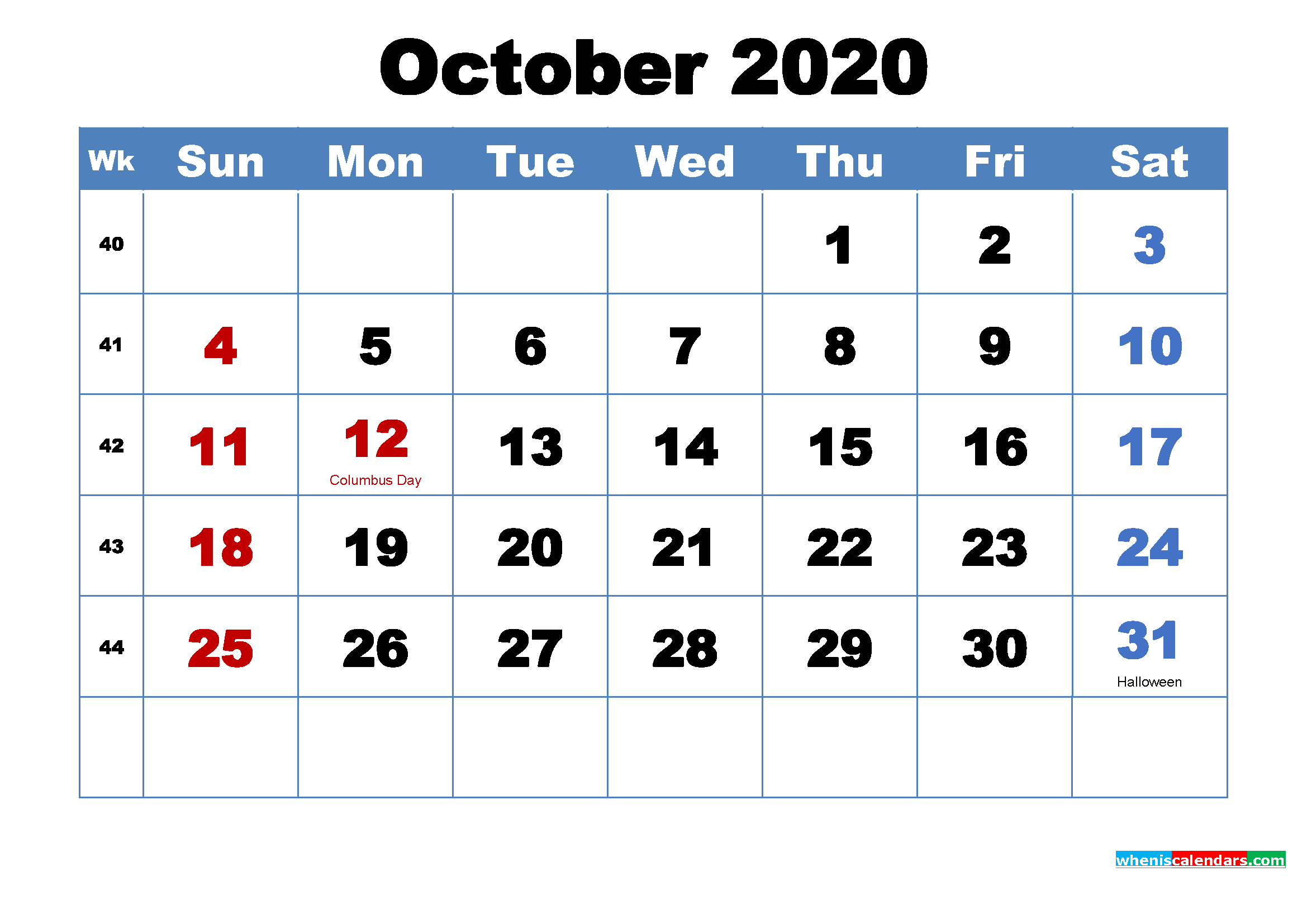 October 2020 Desktop Calendar Free Download