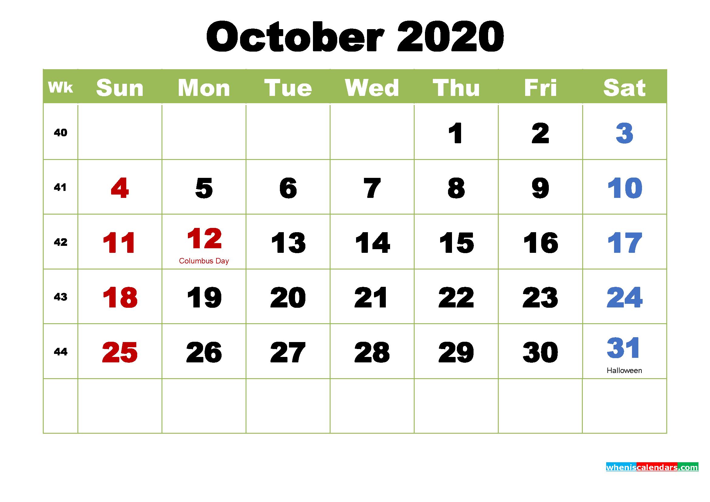October 2020 Desktop Calendar with Holidays