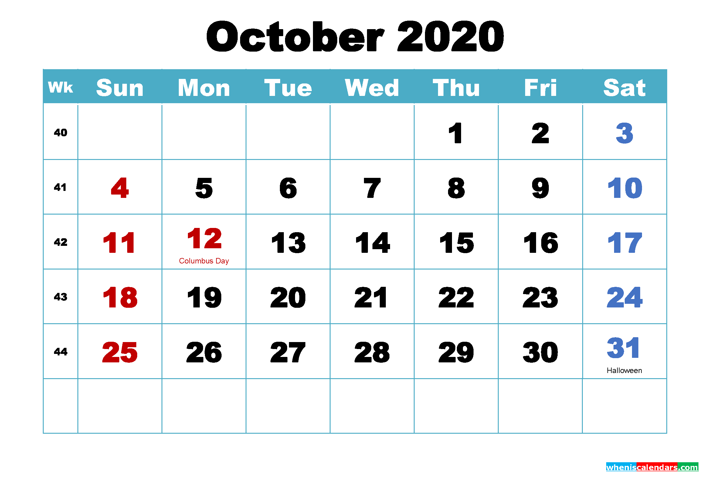 Printable October 2020 Calendar by Month