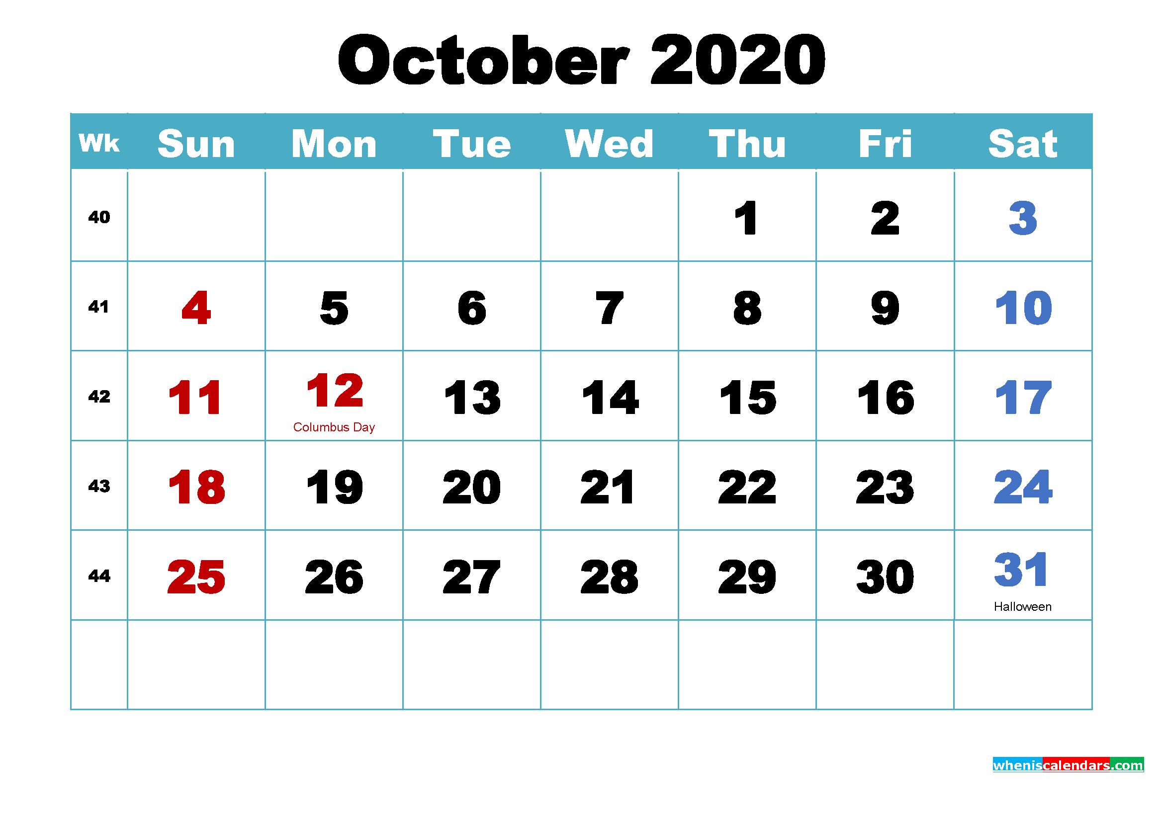 Free October 2020 Desktop Calendar High Resolution