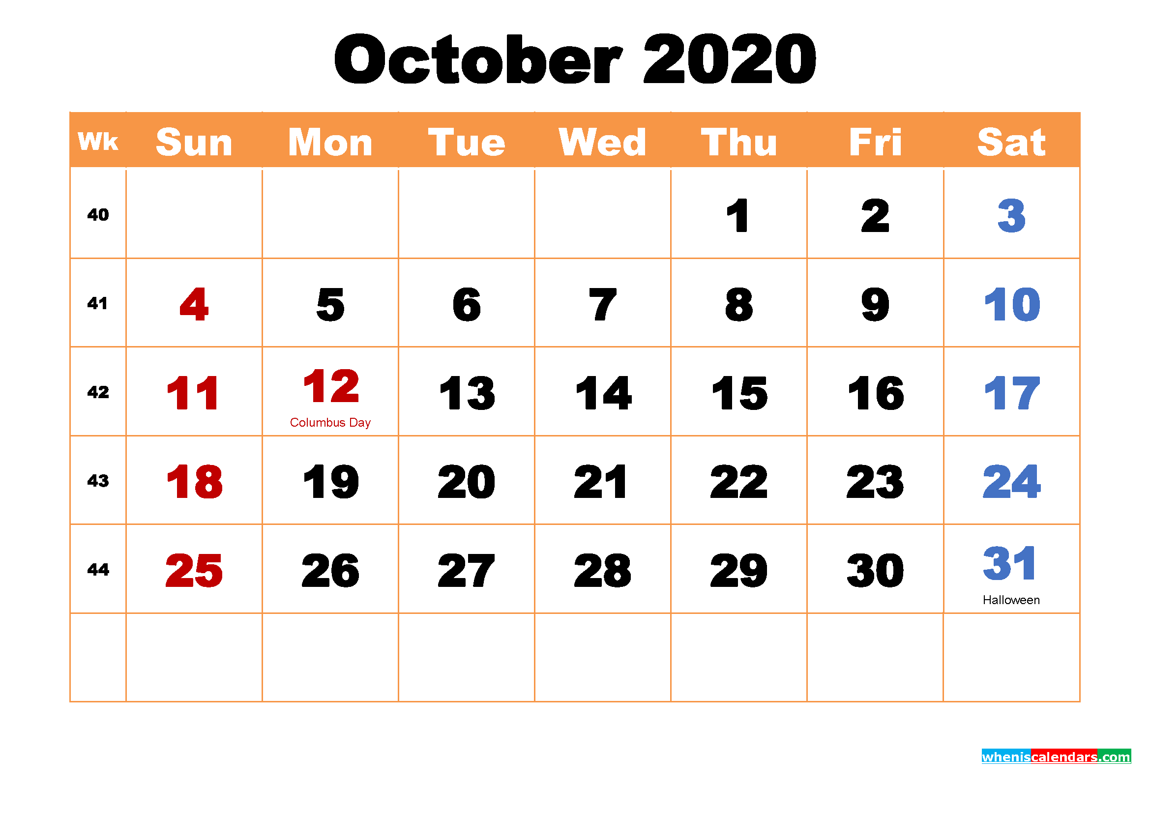 Printable 2020 Calendar by Month October
